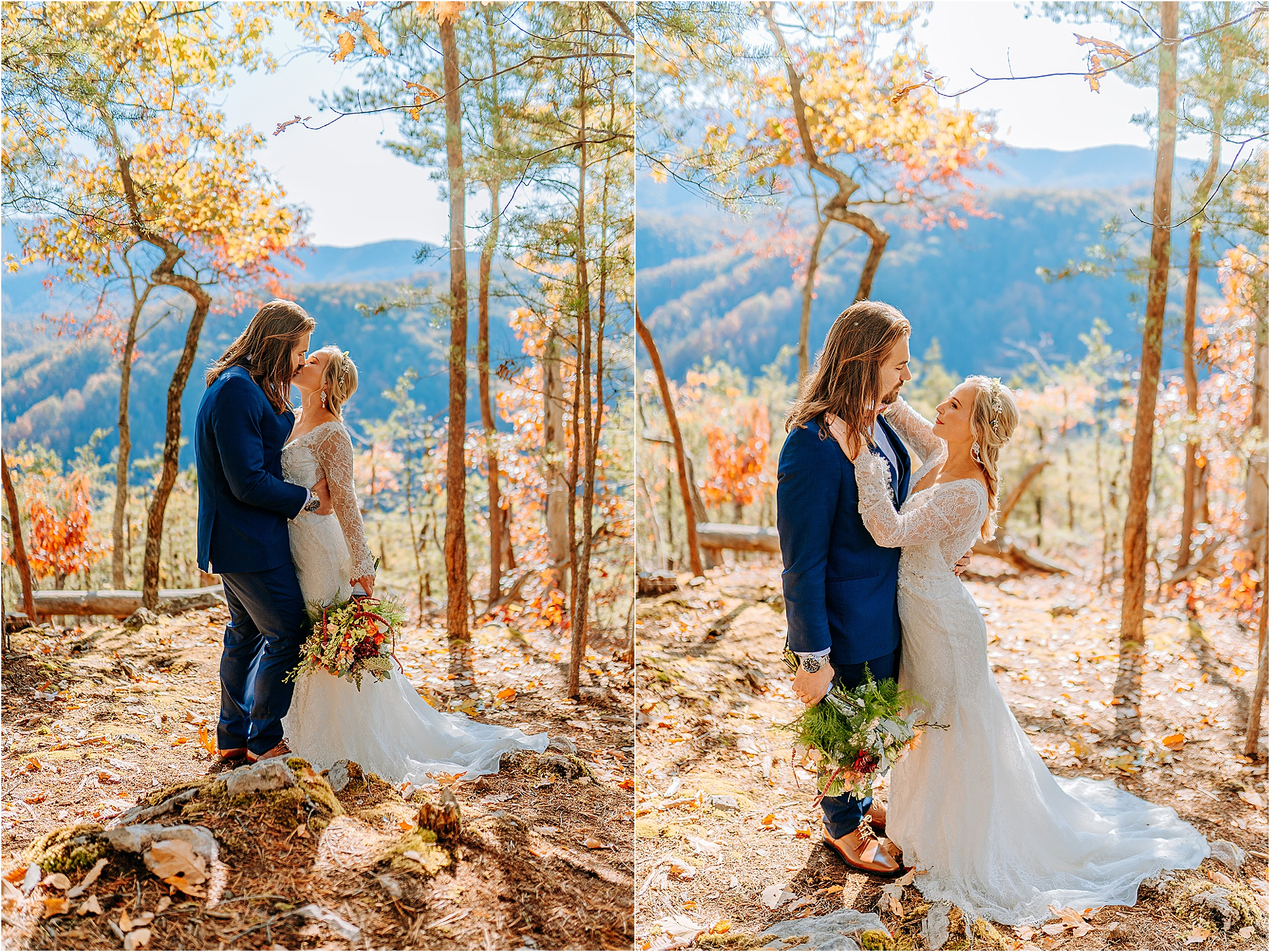 bride and groom kissing in forest on mountainside