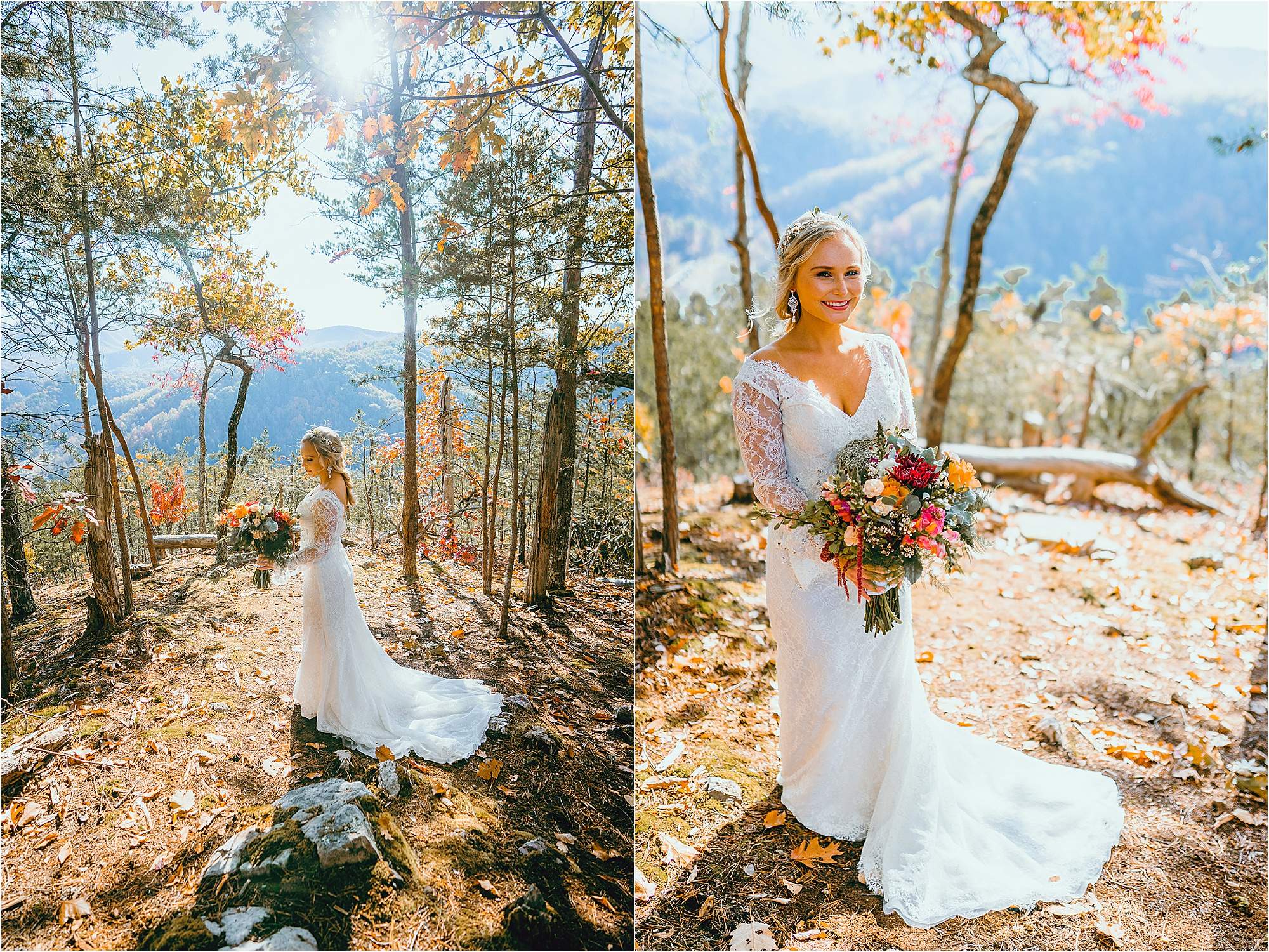 bridal portraits at mountain wedding venue in Tennessee