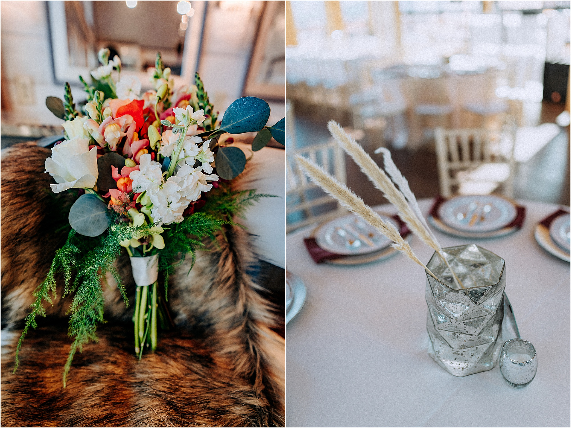 table decor at burgundy and navy fall wedding