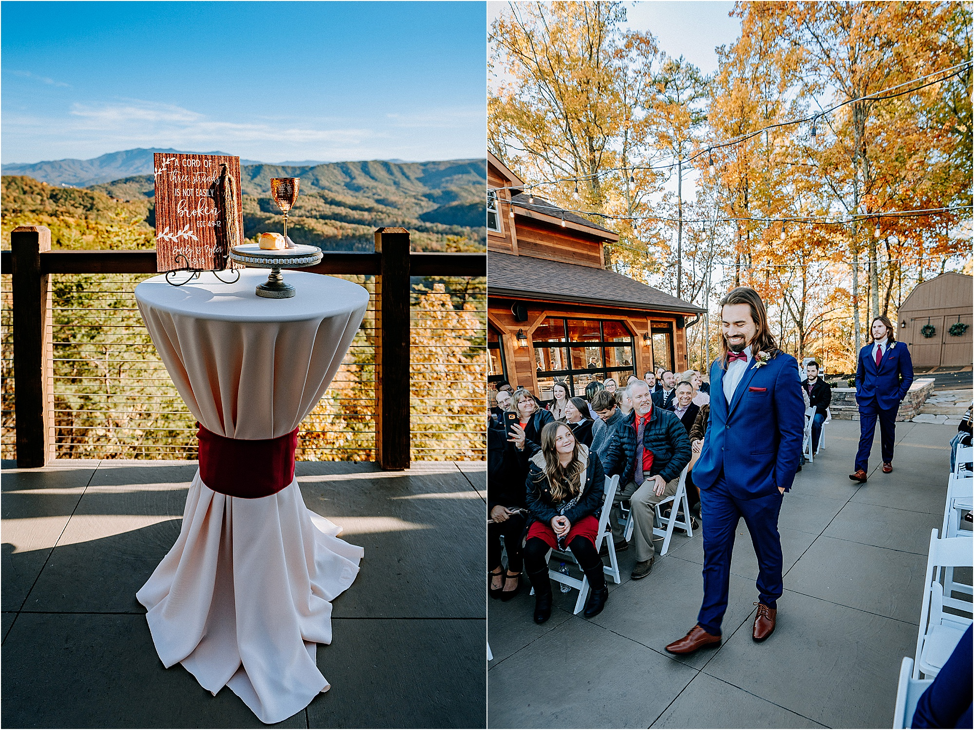 burgundy and navy wedding at mountainside wedding venue