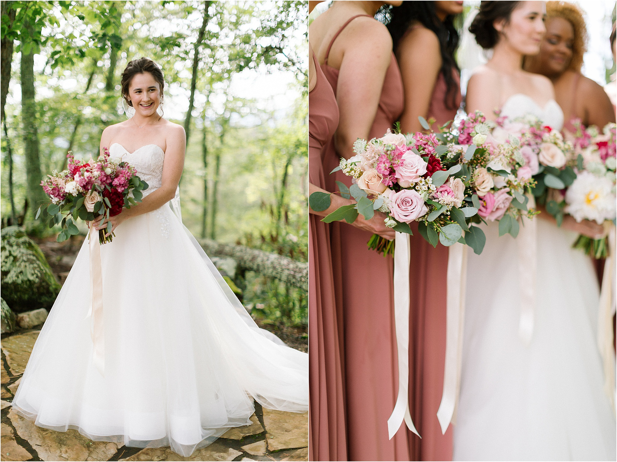 bridal portraits with pink and blush pink flowers