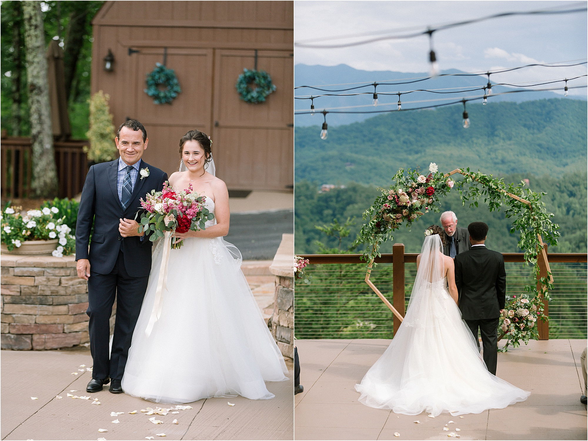 wedding ceremony at mountaintop wedding venue in Pigeon Forge, Tennessee