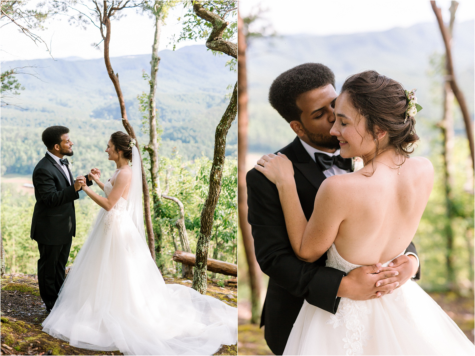 bride and groom kiss on mountaintop
