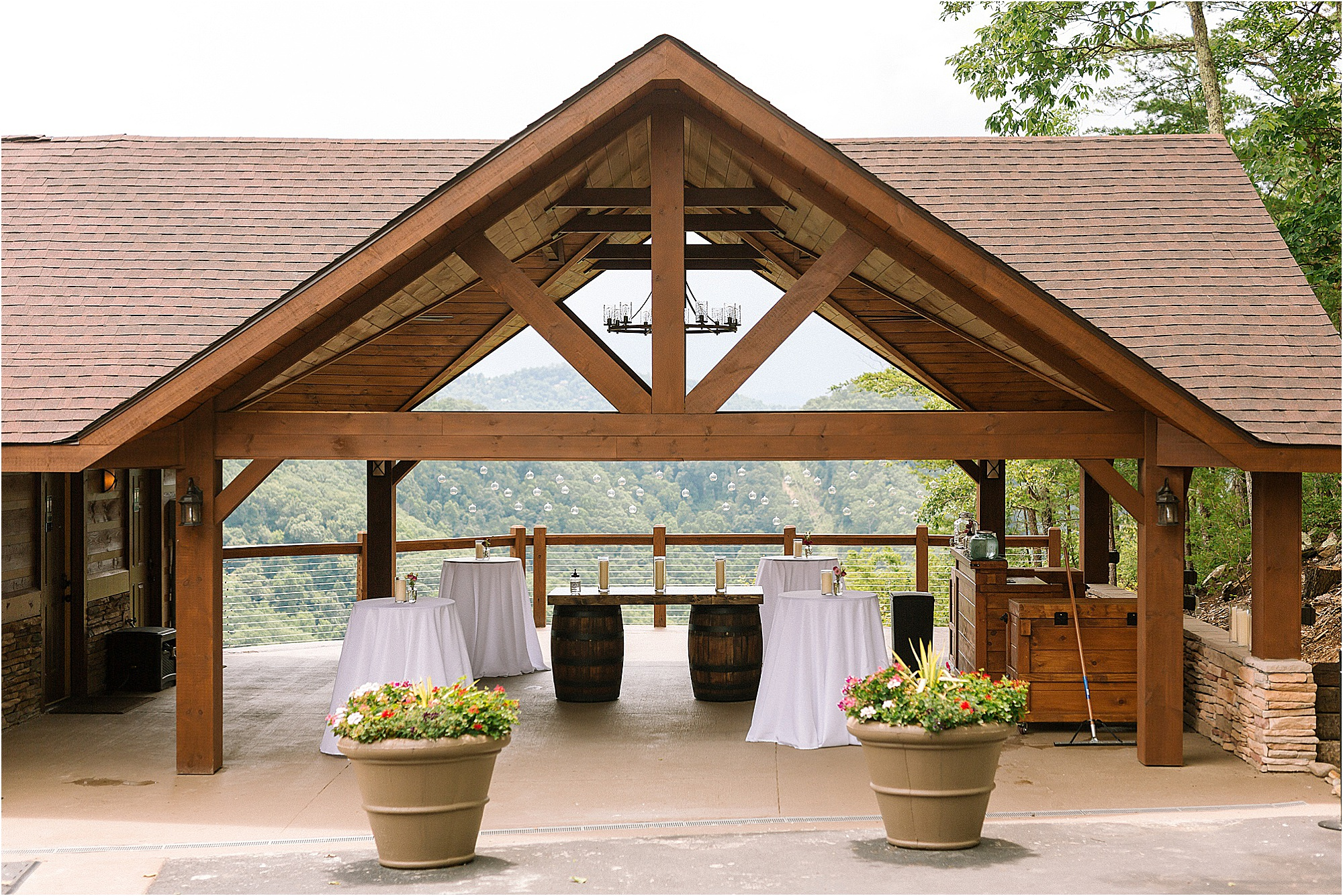 covered reception at mountaintop wedding venue
