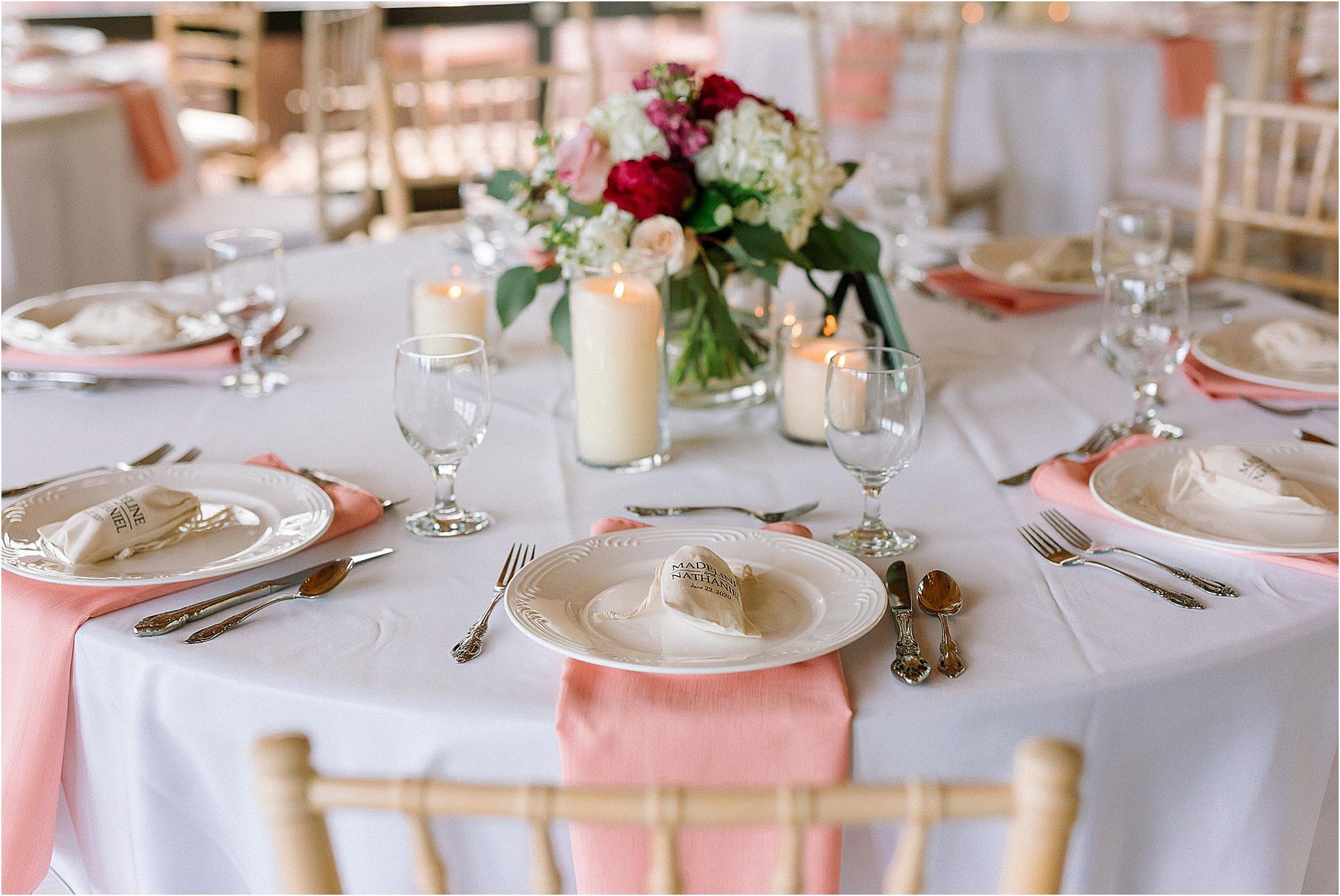 pink wedding table decor at wedding reception at mountaintop affair