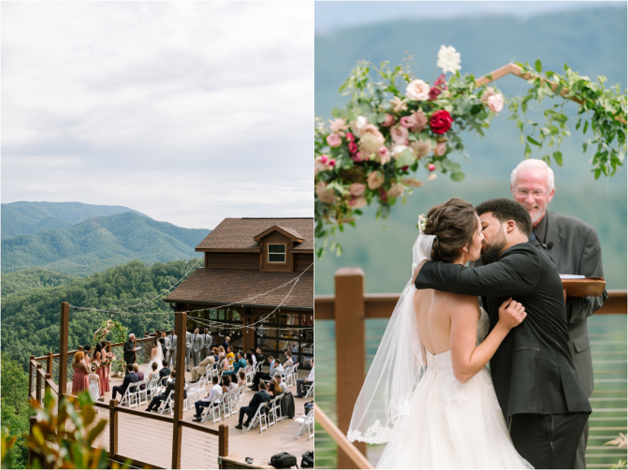 bride and groom kiss at mountaintop wedding affair in Pigeon Forge, Tennessee
