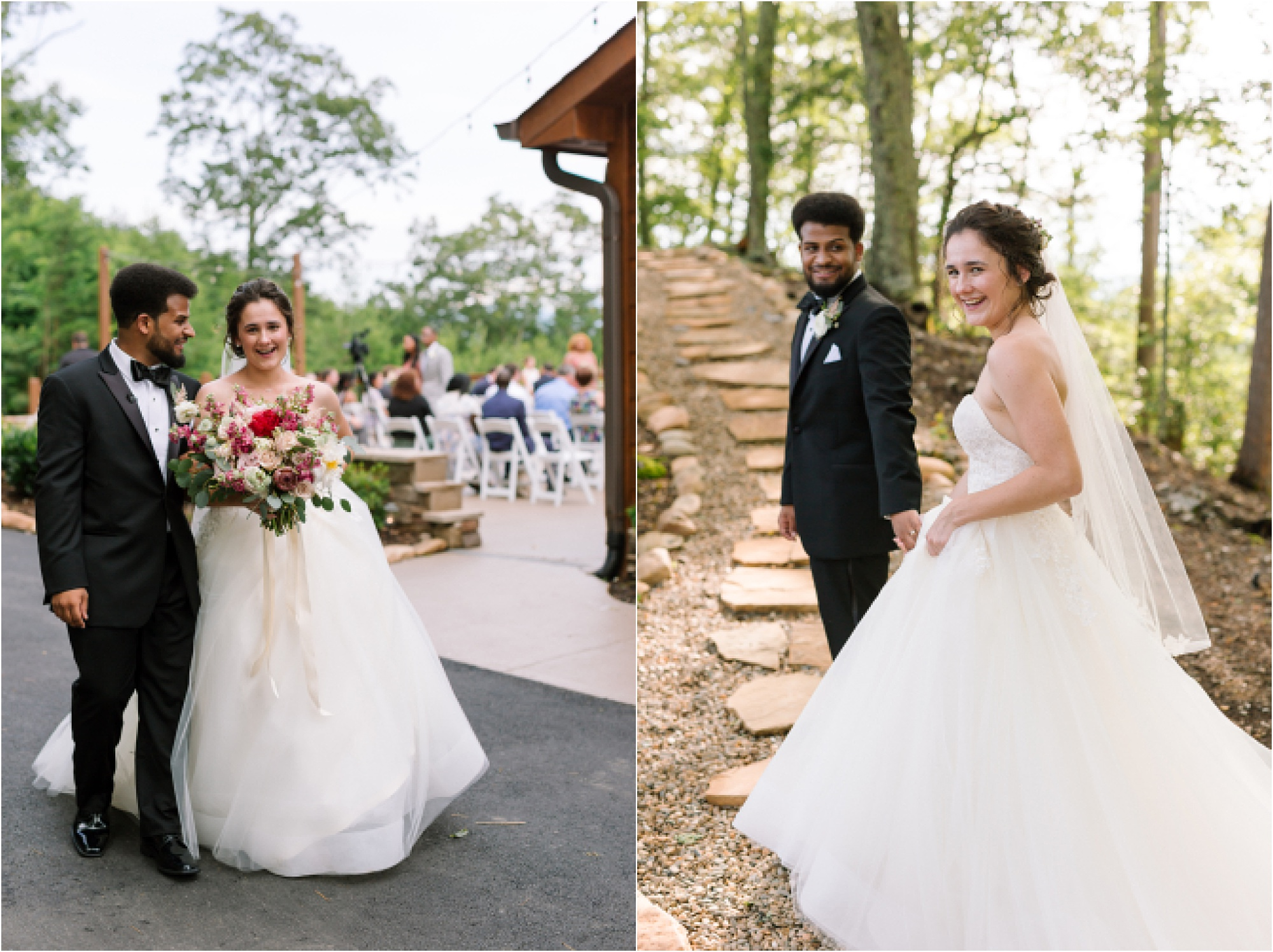 bride and groom walk up to The Knoll at The Magnolia Wedding Venue