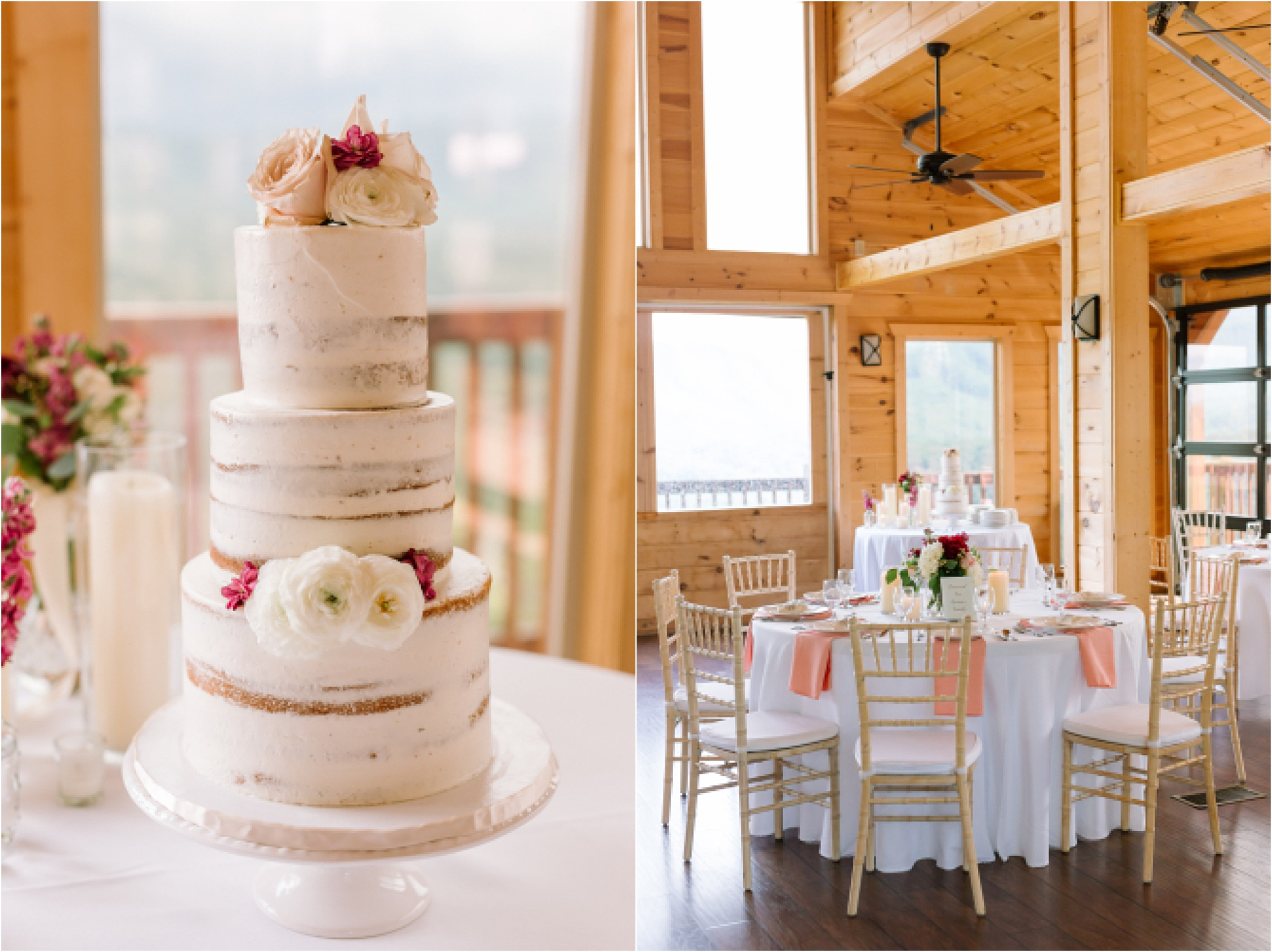cake and reception details at mountaintop wedding