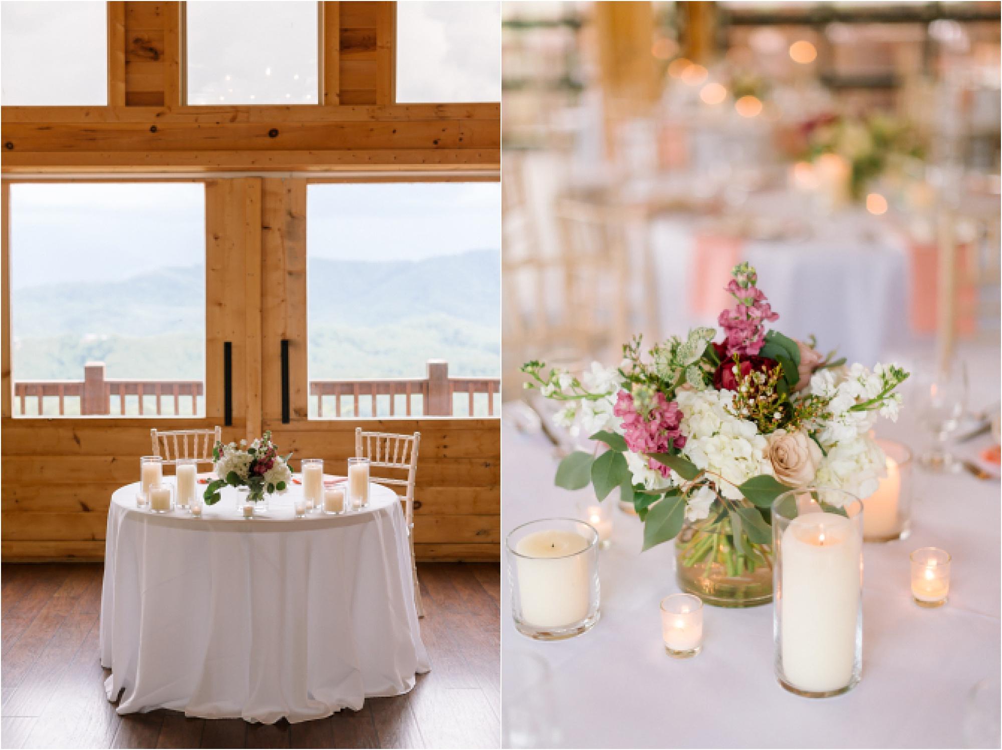 blush pink wedding decor at reception