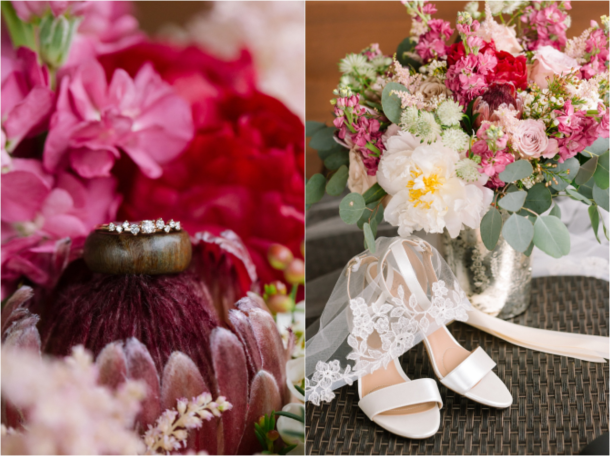 bright pink wedding flowers and bridal details