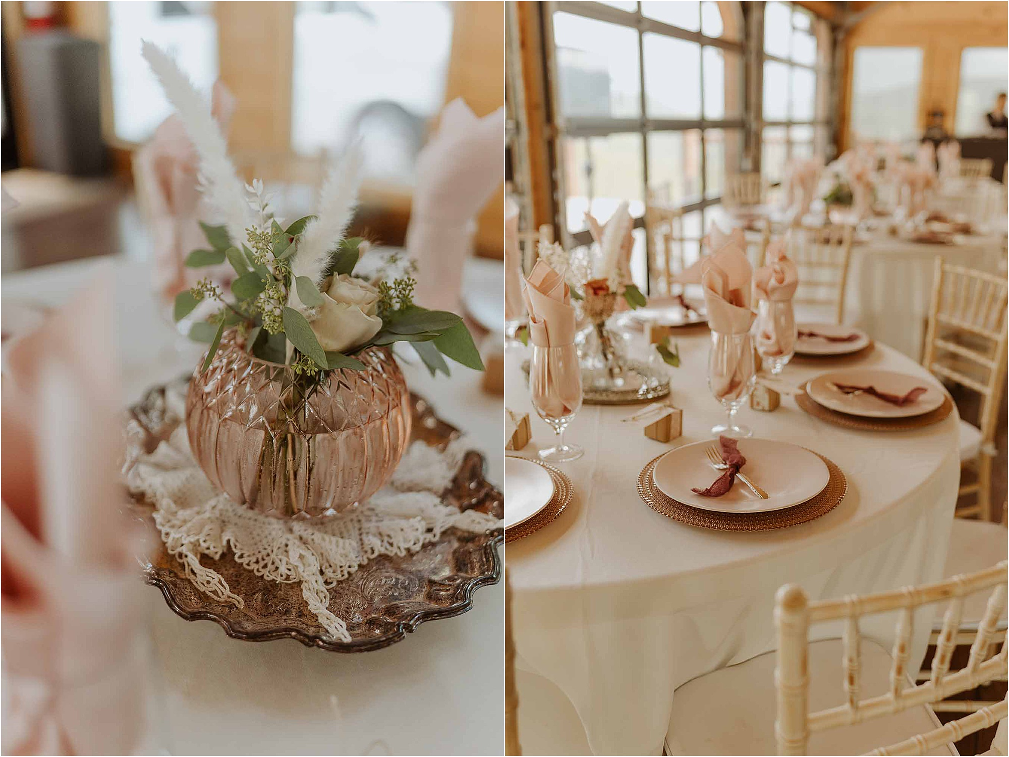 blush wedding reception decorations with feathers