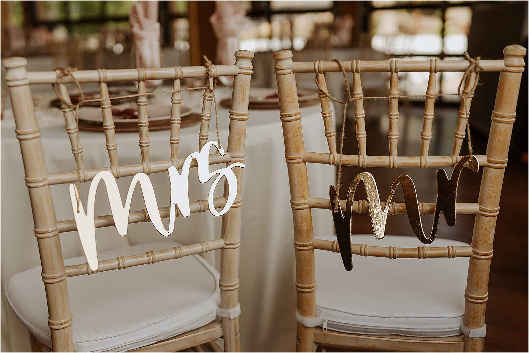 Mr. and Mrs. chairback signs