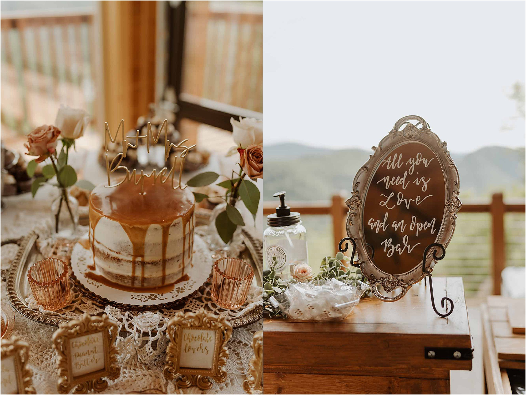 naked wedding cake with caramel drizzle and fun bar signs
