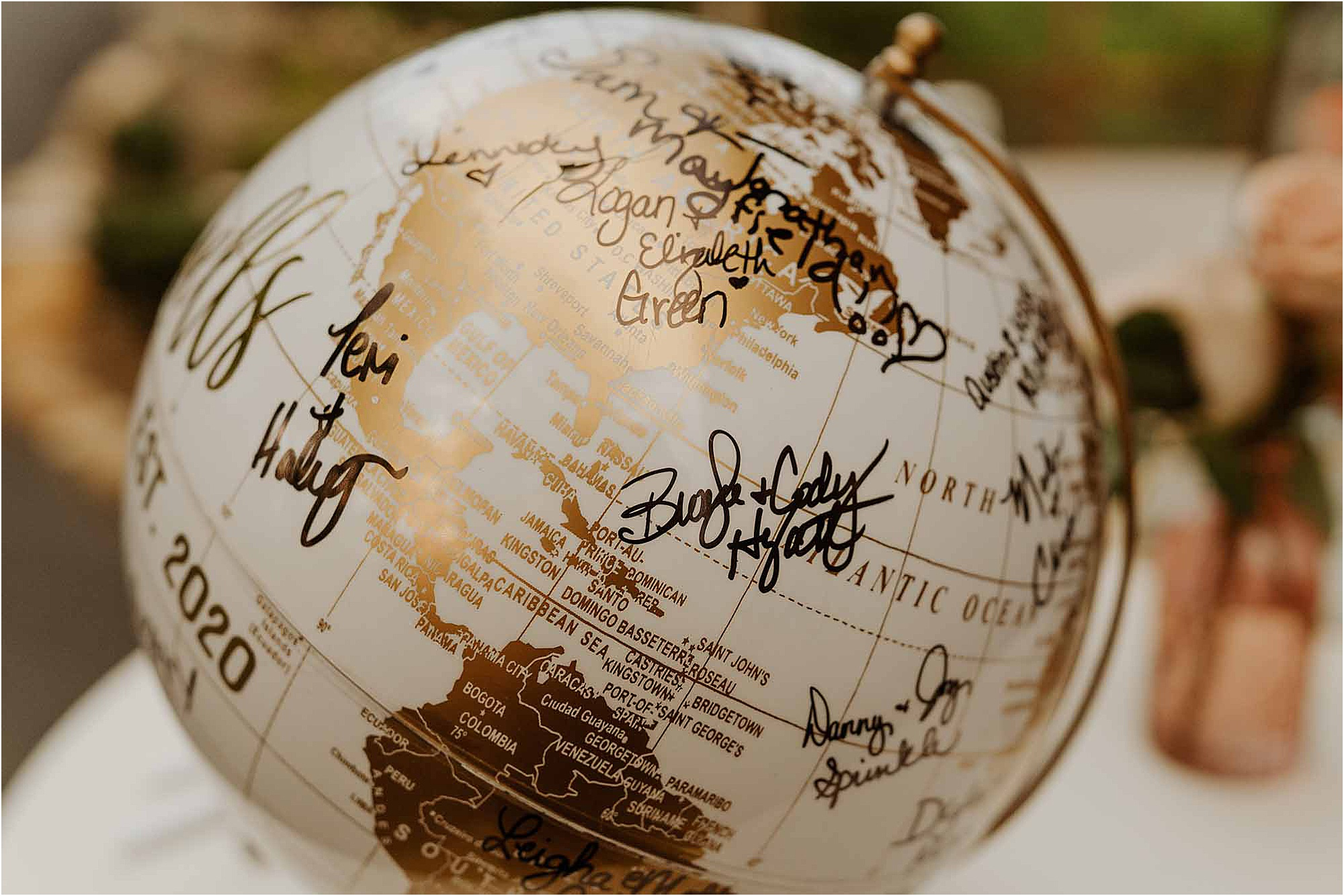 gold globe wedding guest book
