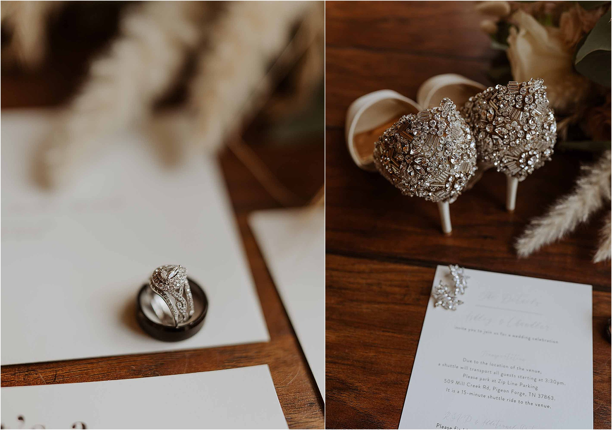 wedding ring and silver shoe wedding details