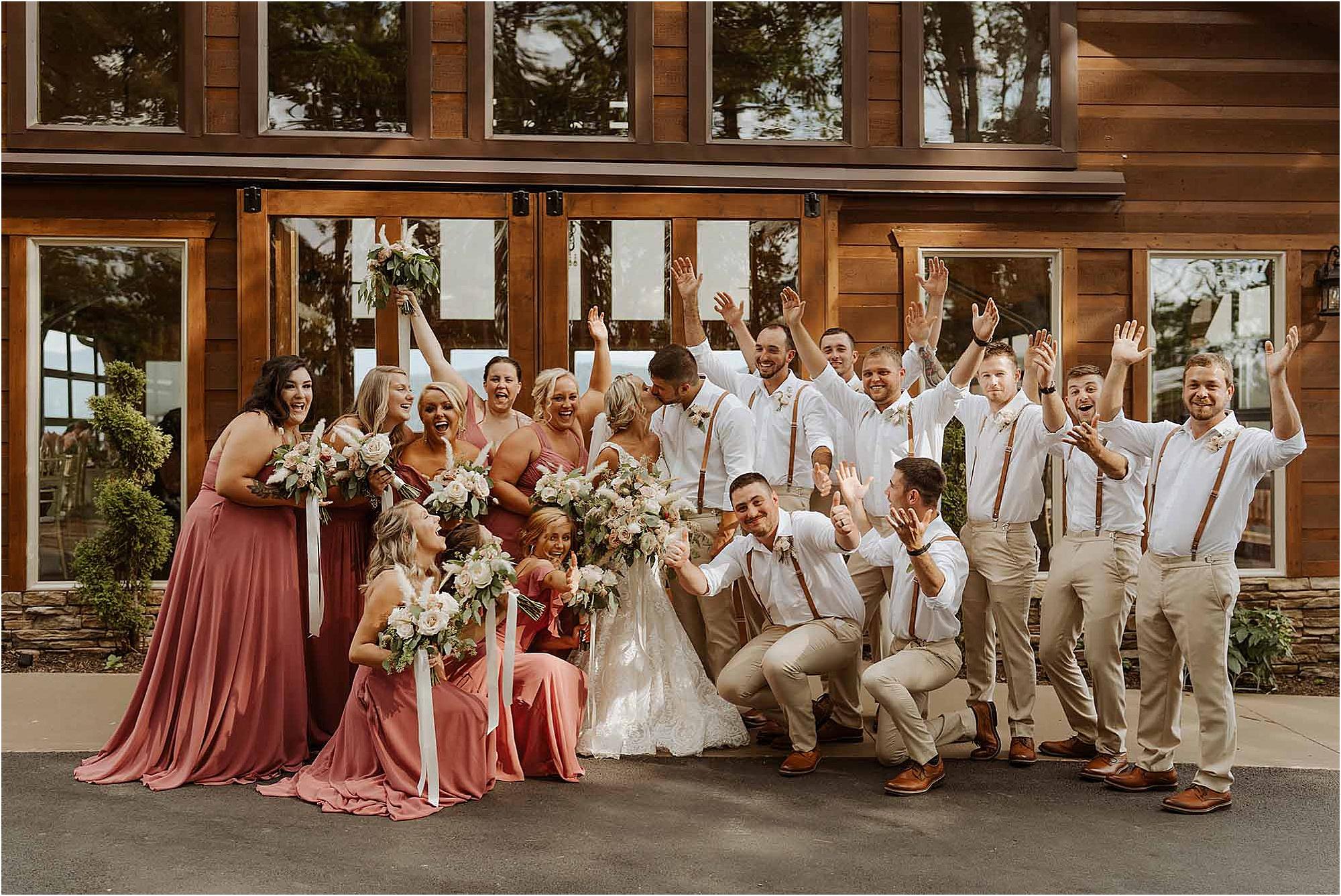 fun bridal party photos at summer wedding