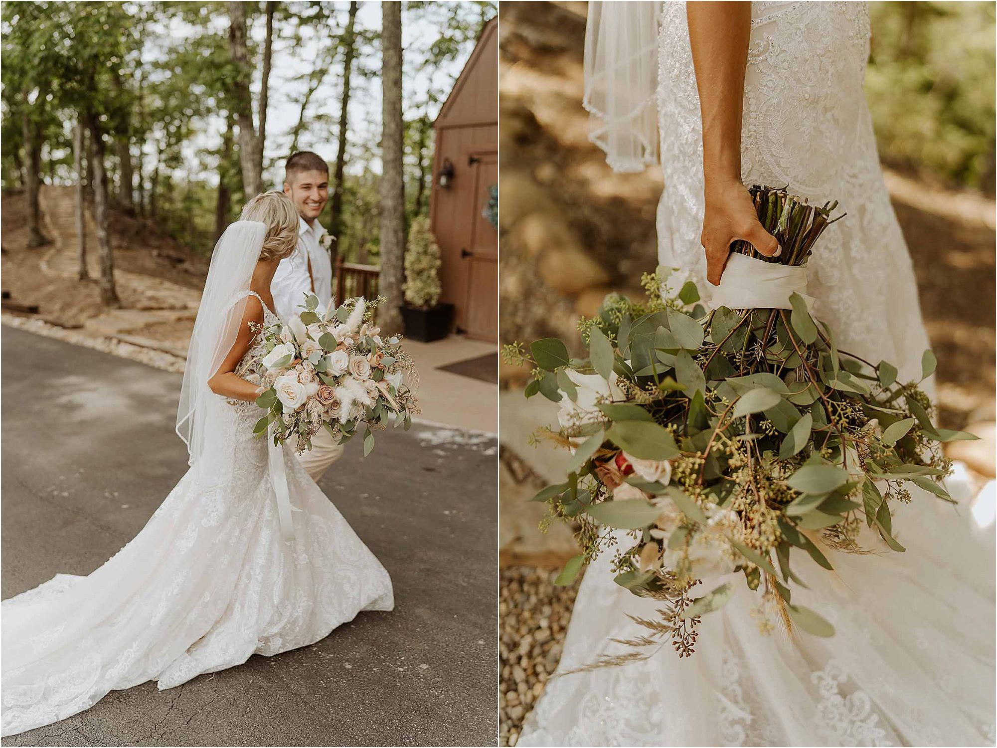 bride and groom walk down wedding aisle at summer wedding