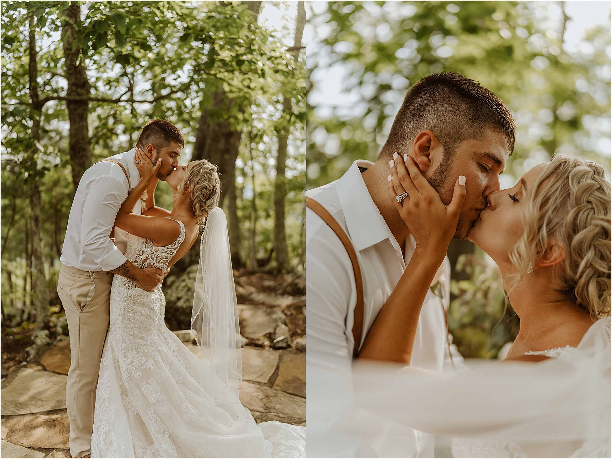 bride and groom kissing in forest at summer wedding