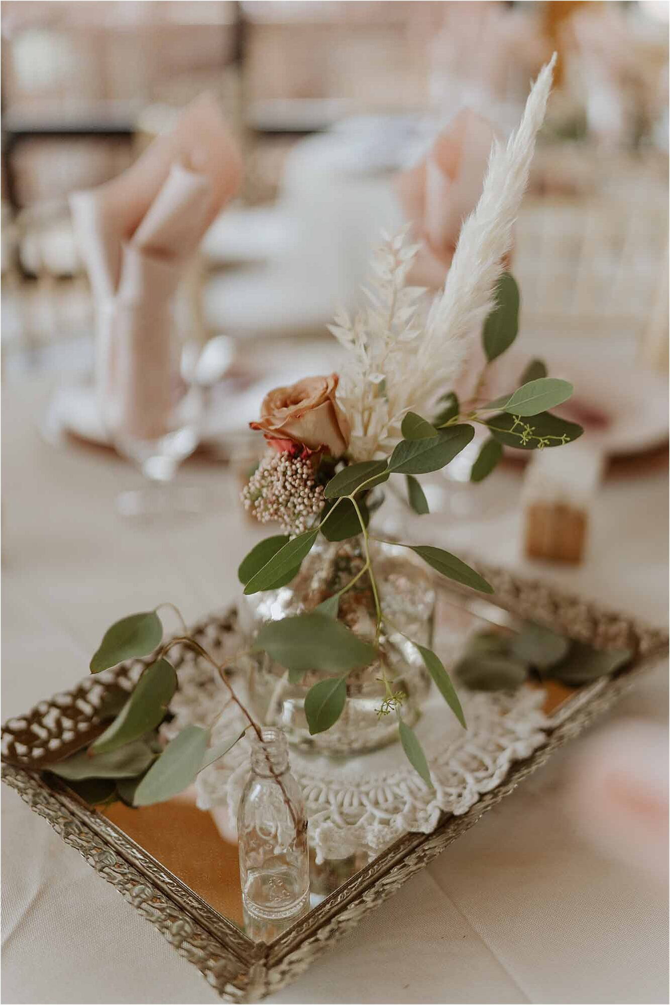 pink and green wedding reception decorations
