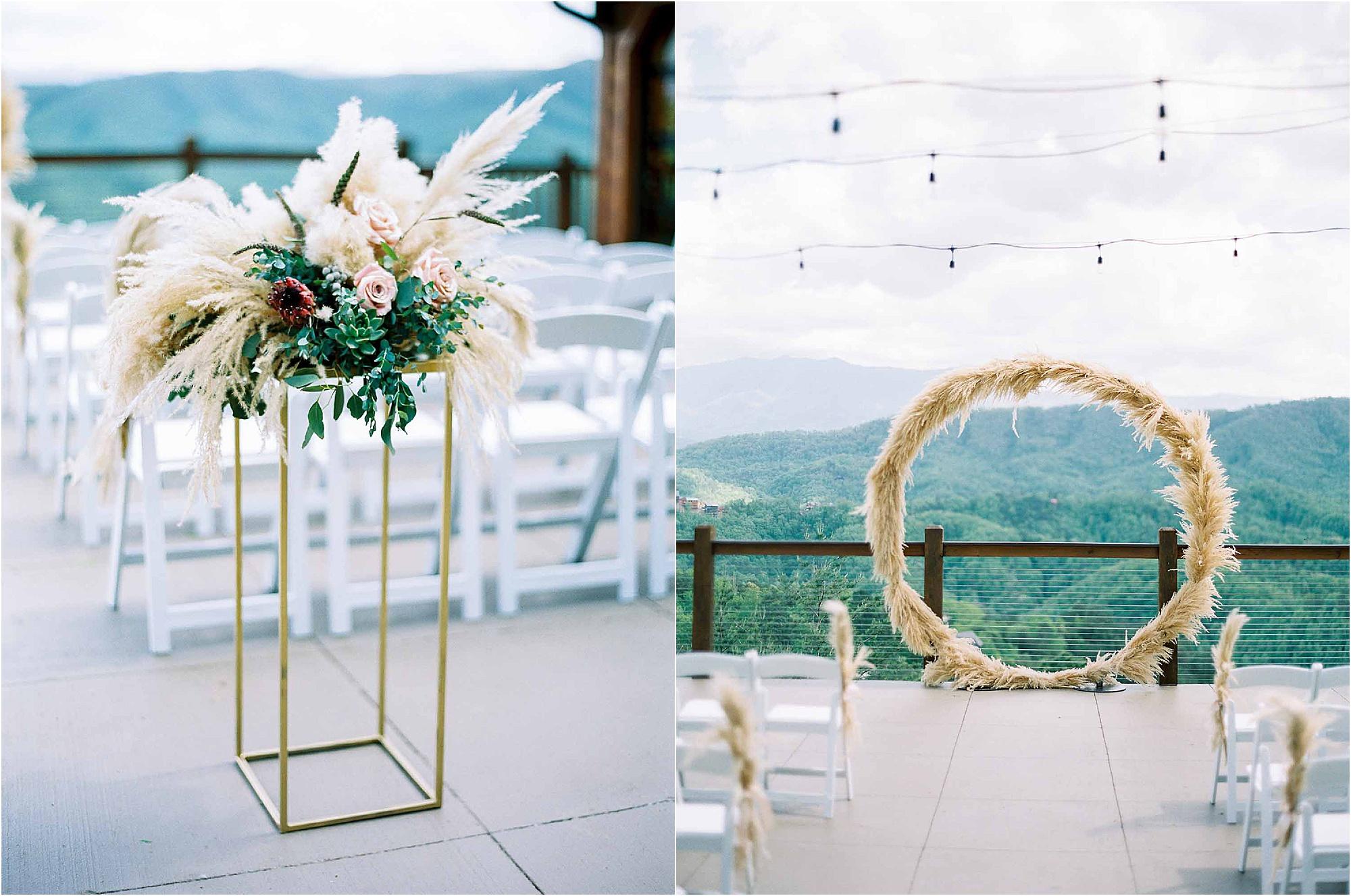 outdoor ceremony wedding decor and arbor