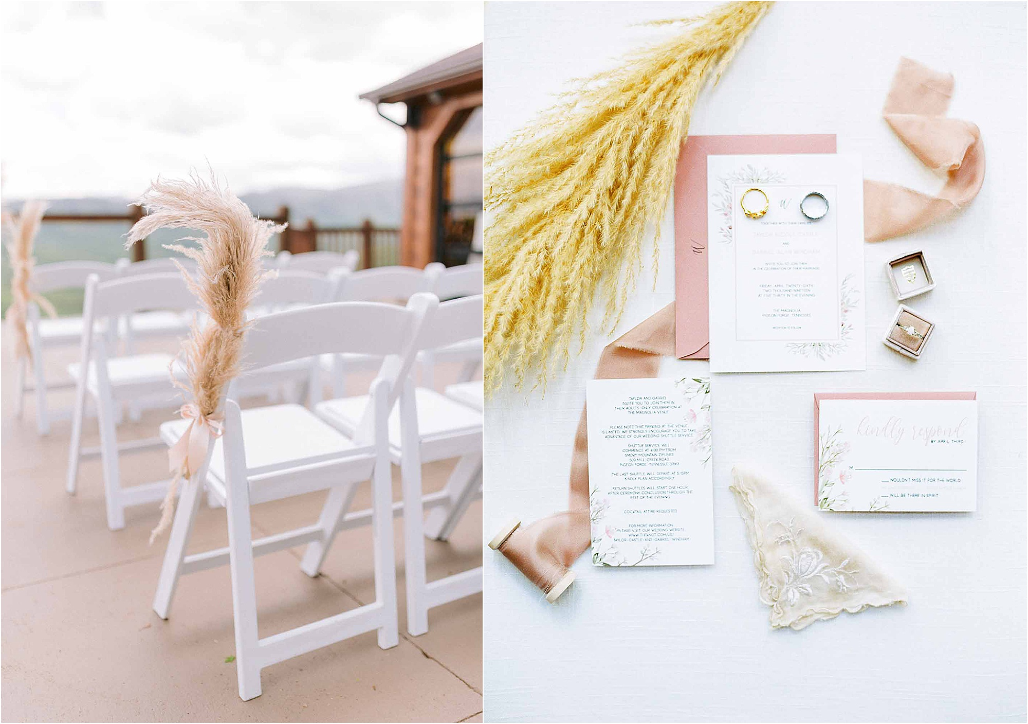 white and gold wedding ceremony decor and invitaitons