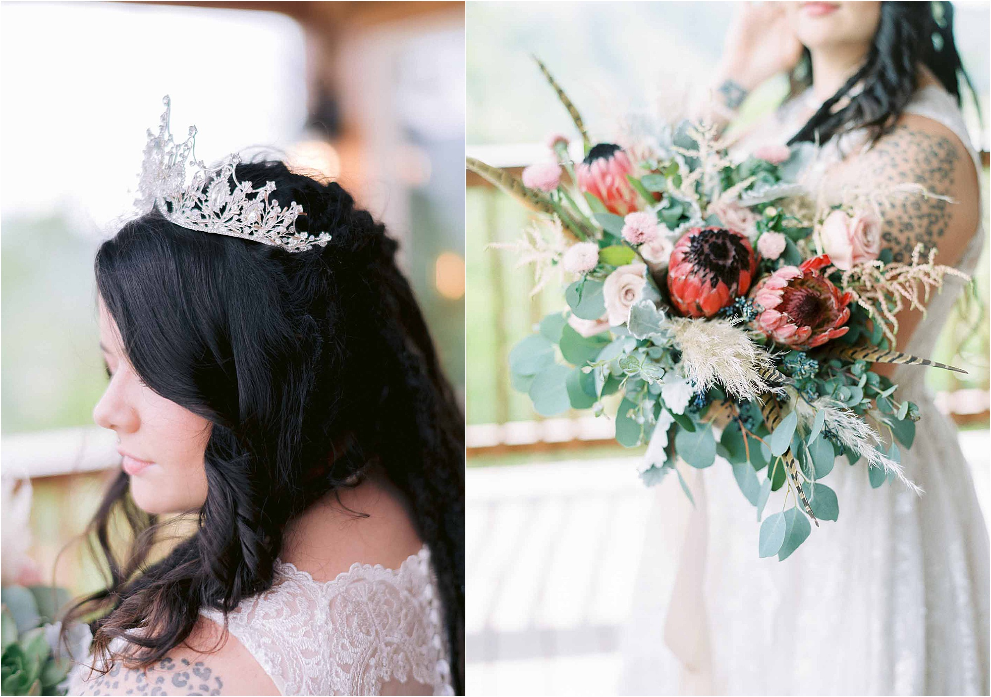 large flower bouquet with bride and bridal crown