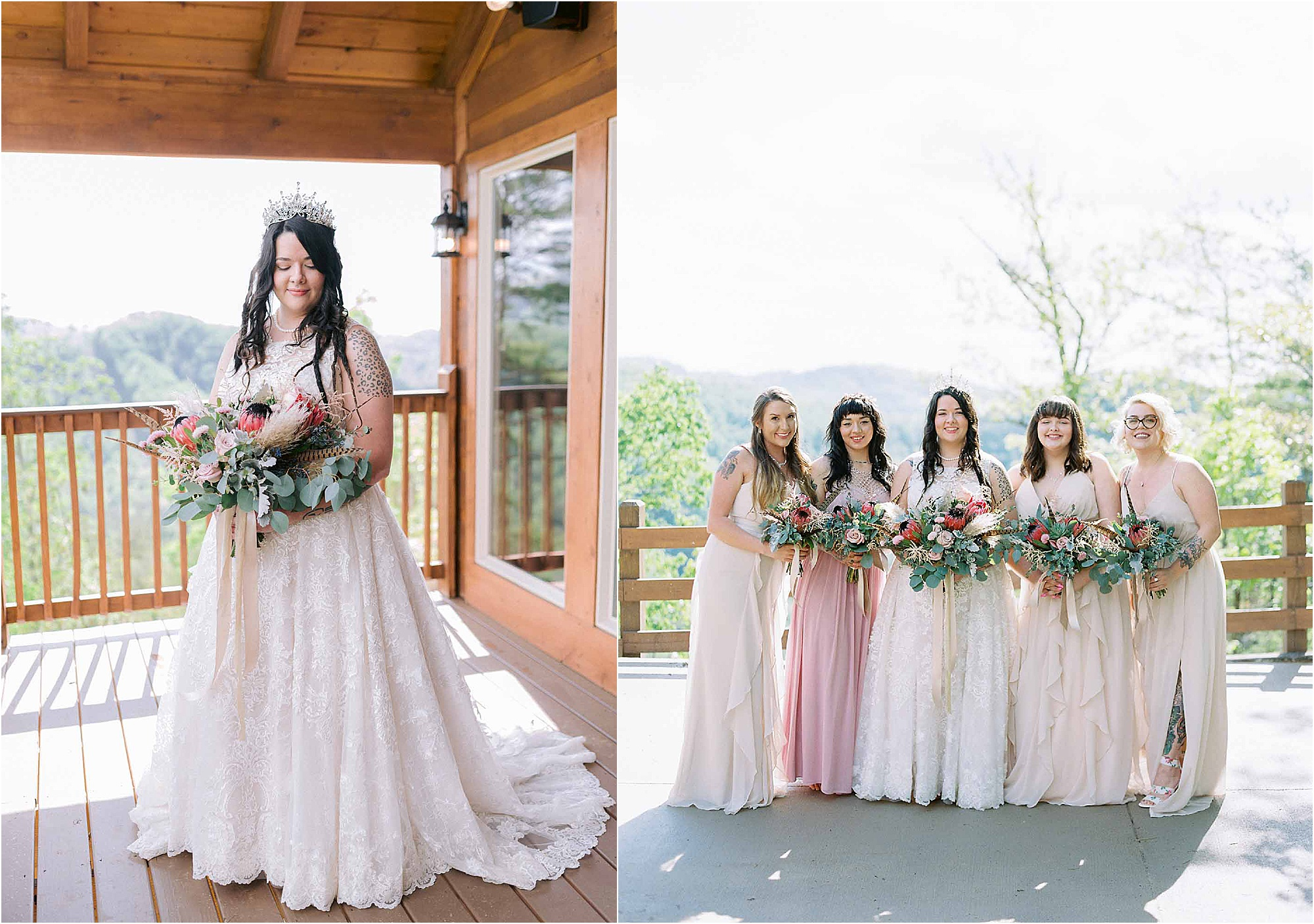 bride with crown and bridesmaids in pink dresses