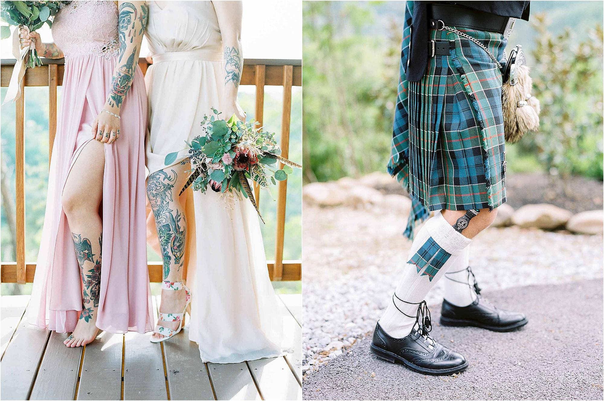 legging details at Scottish Wedding