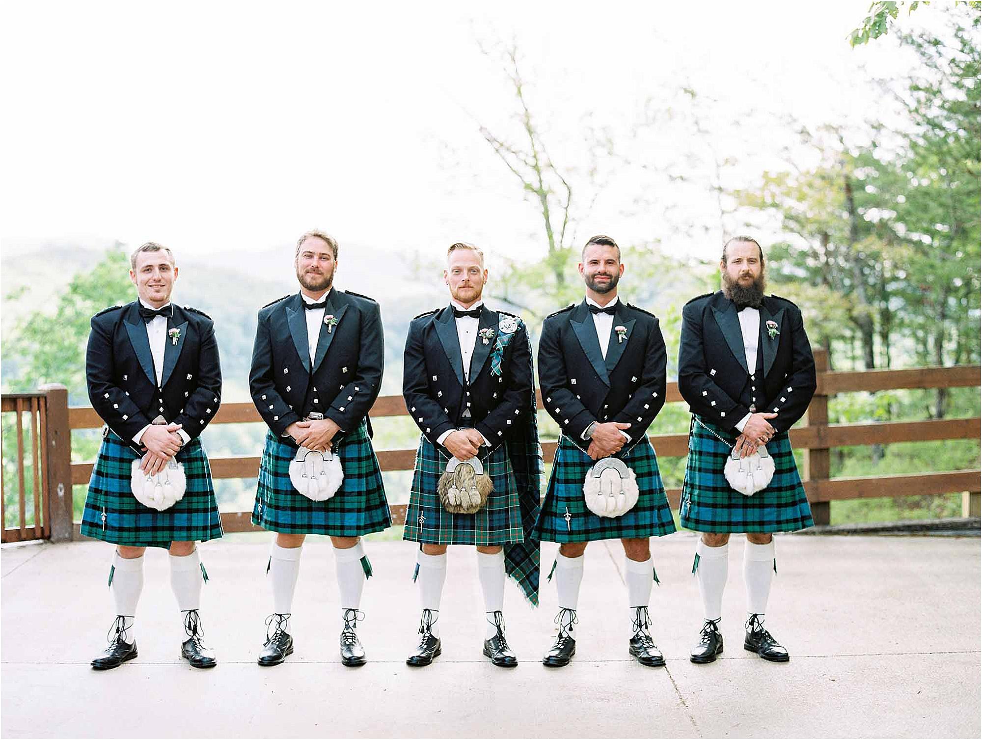 groom and groomsmen in kilts at Scottish Wedding