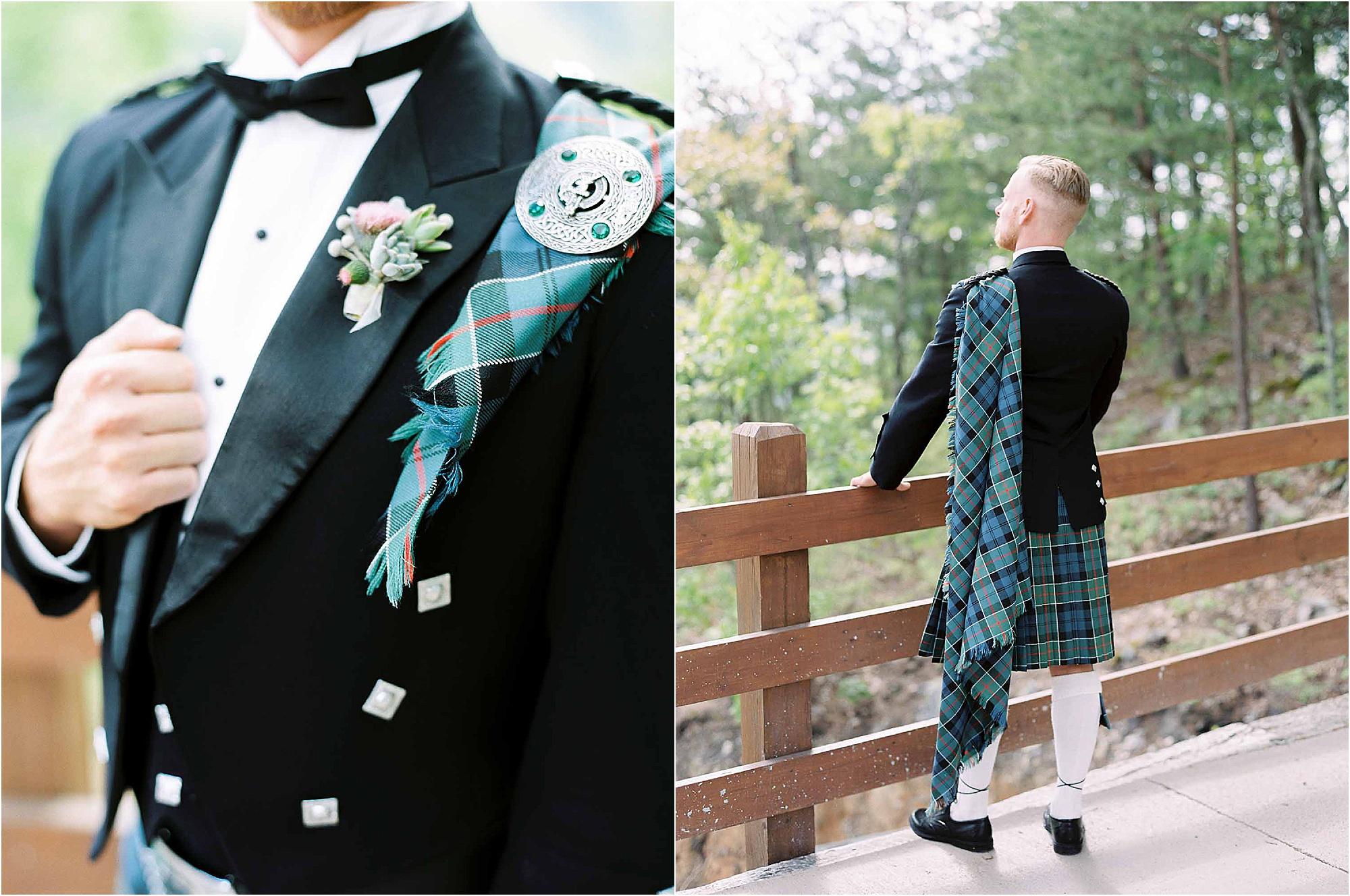 Scottish details on groom at wedding