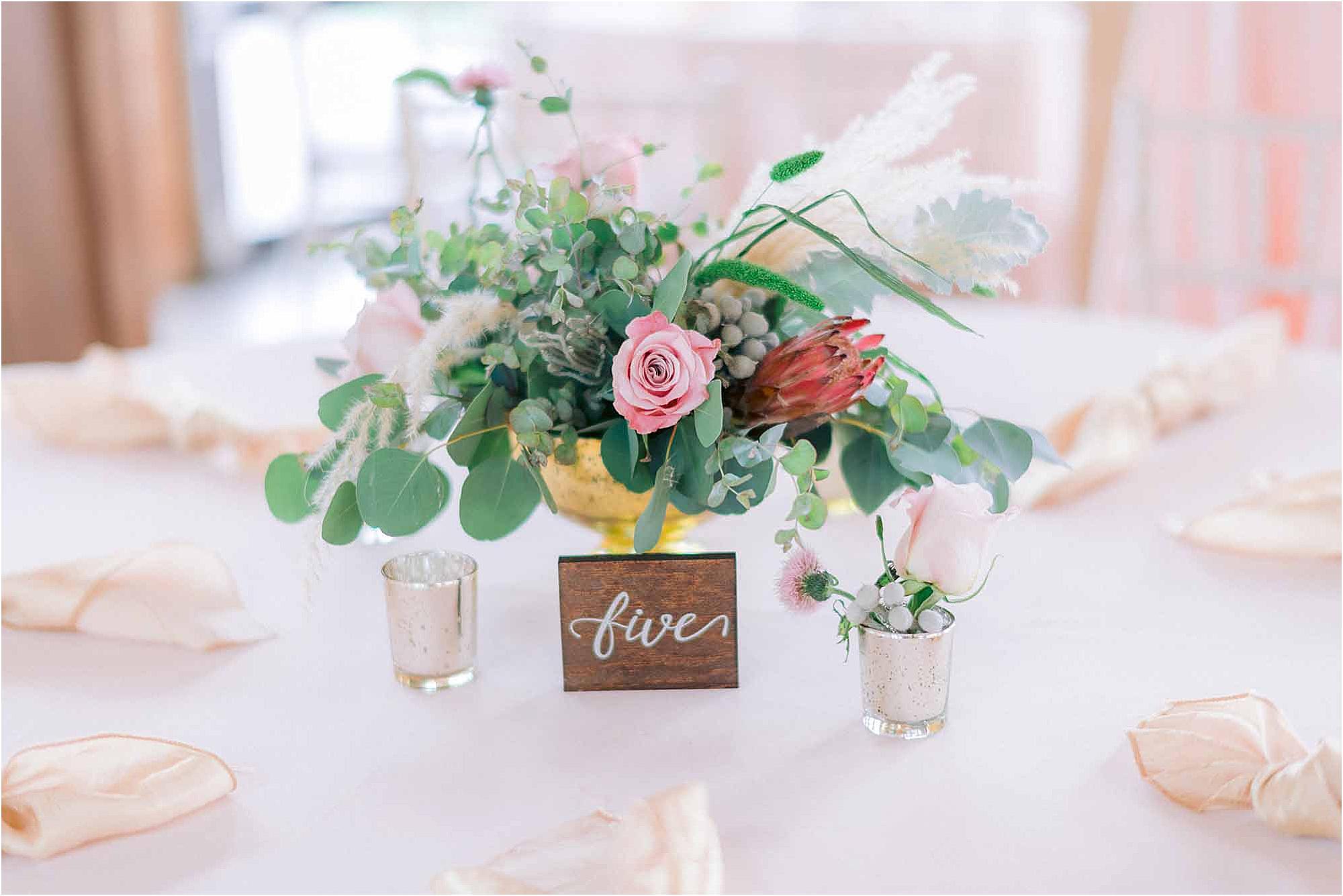 pink and green wedding reception decor