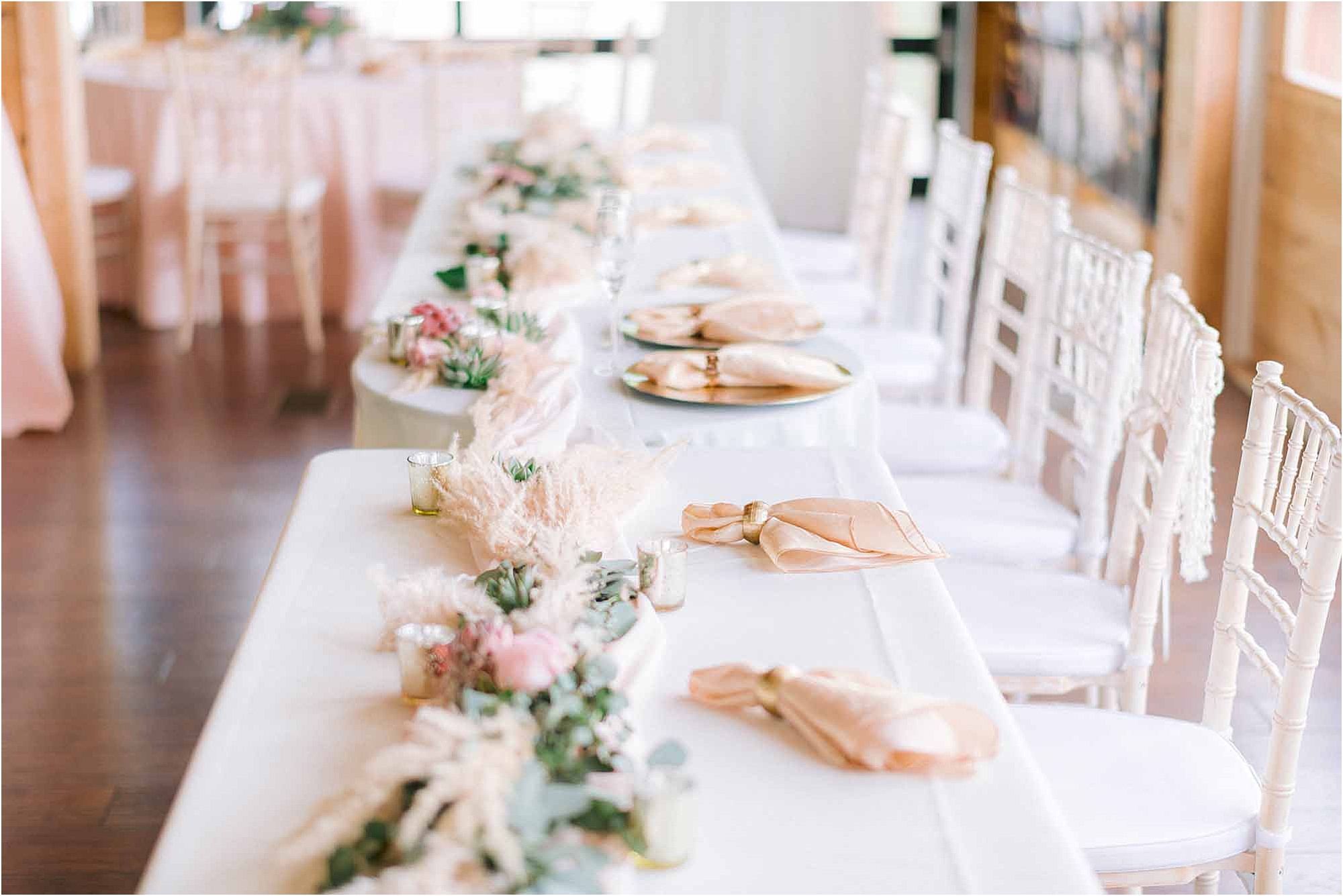 pink and gold wedding reception decorations