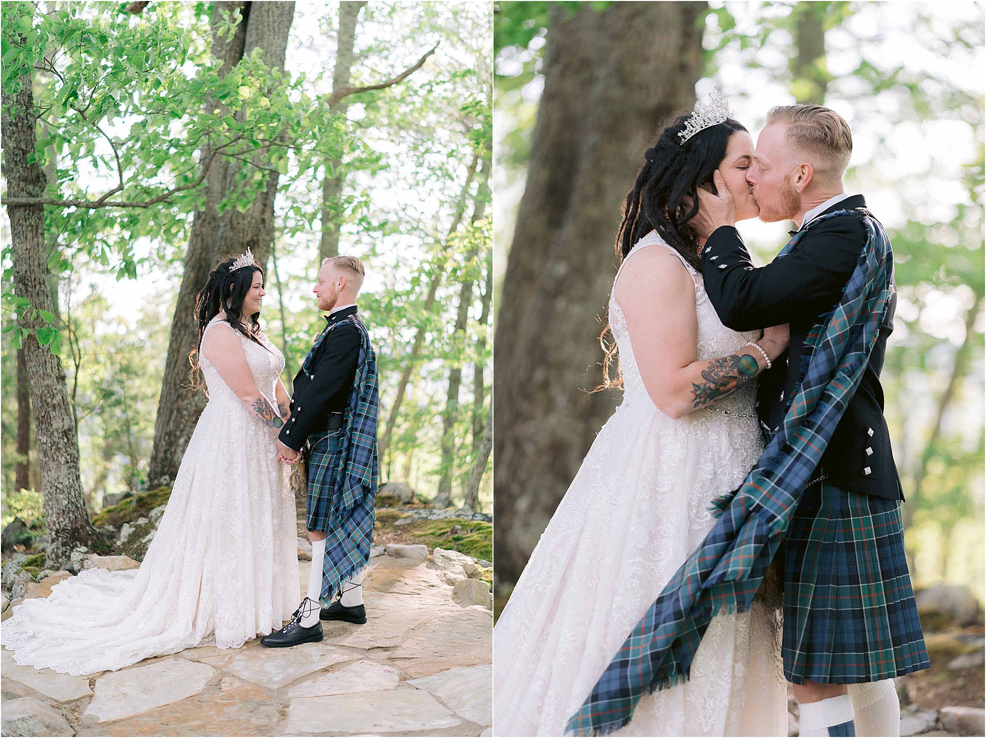 bride and groom kiss in forest at Scottish Wedidng
