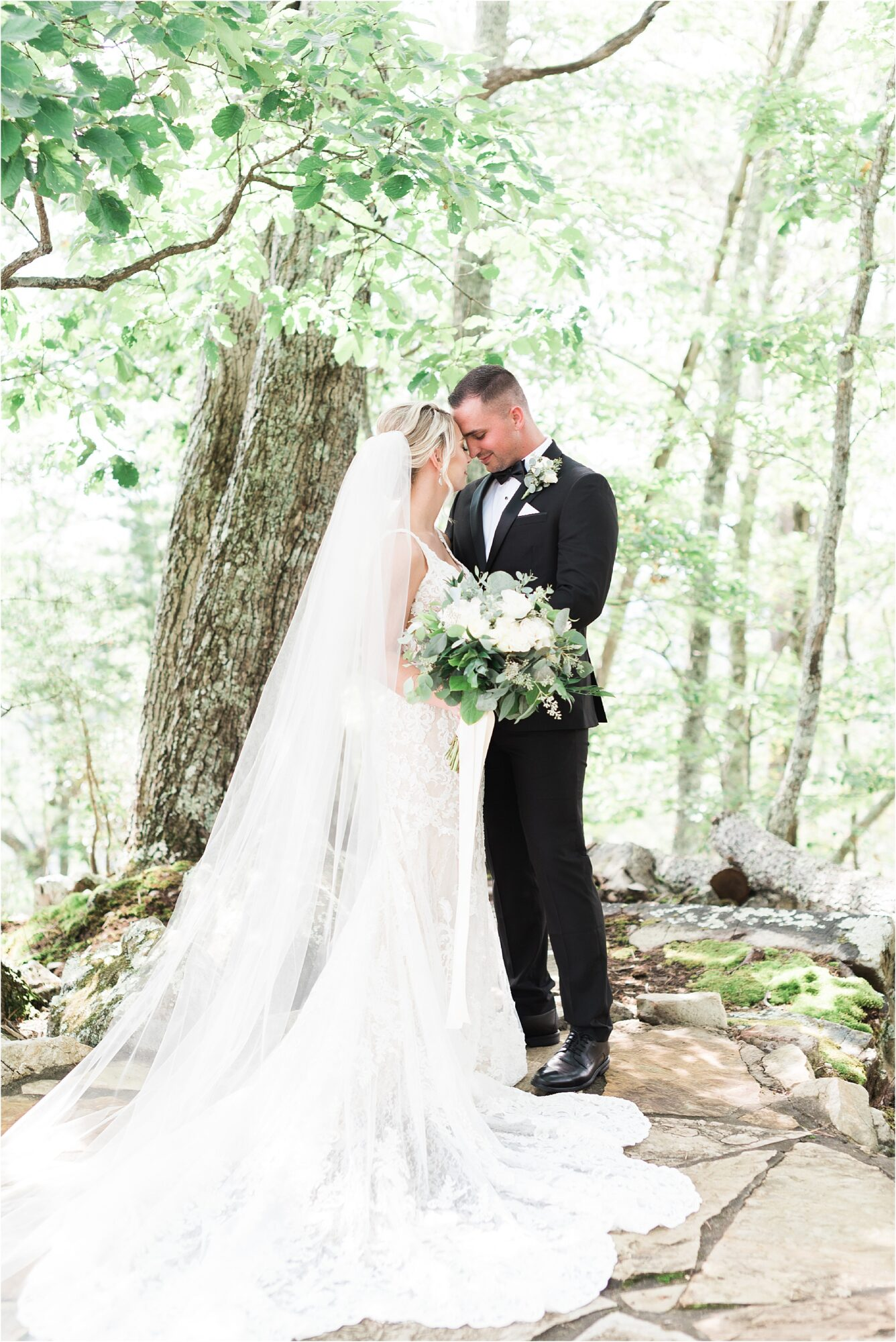 bride and groom portraits in forest