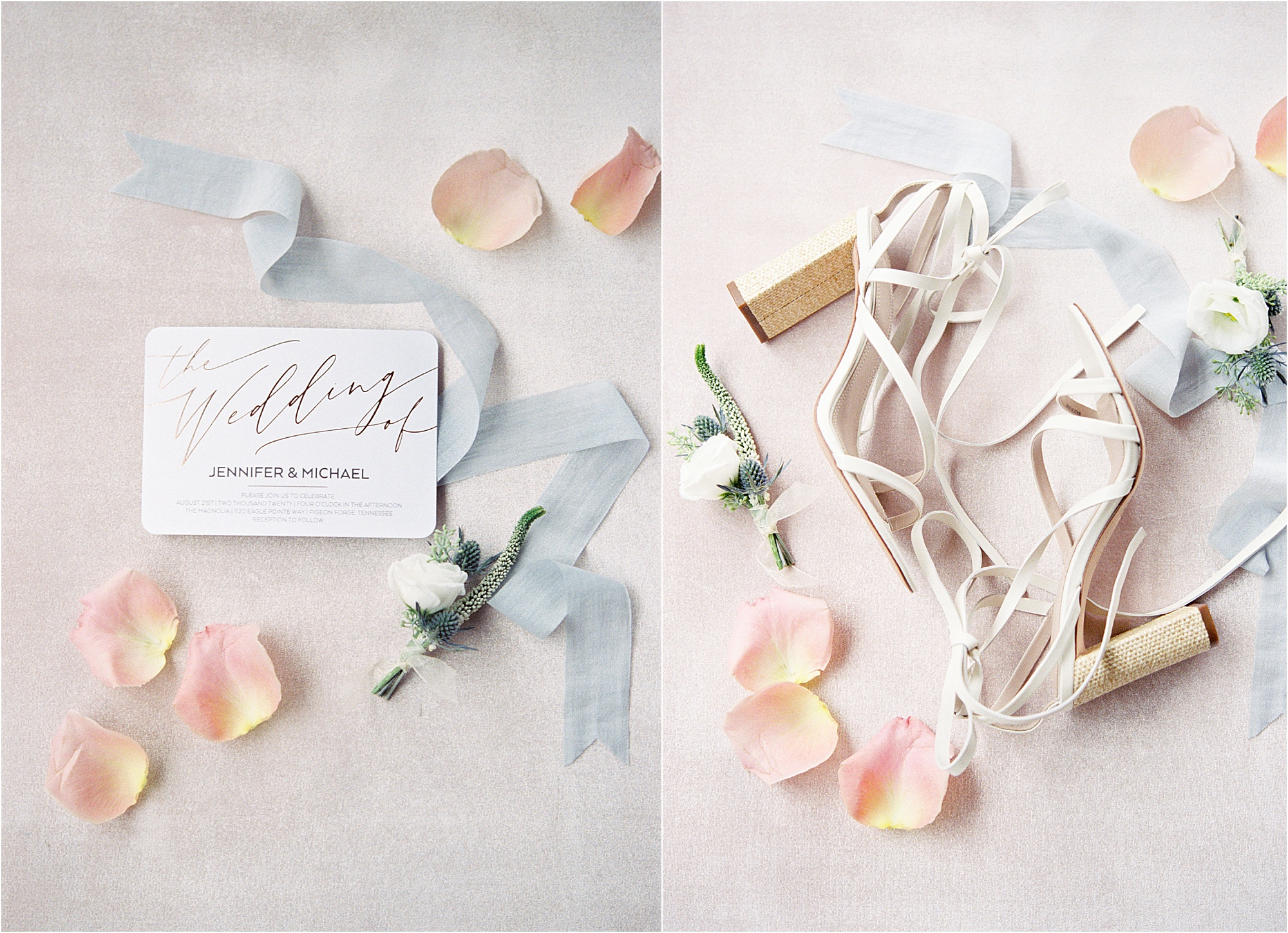 blue and light pink wedding details with white wedding shoes