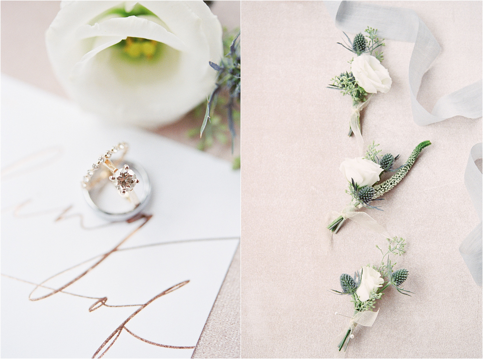 micro photo of wedding rings and boutonnieres