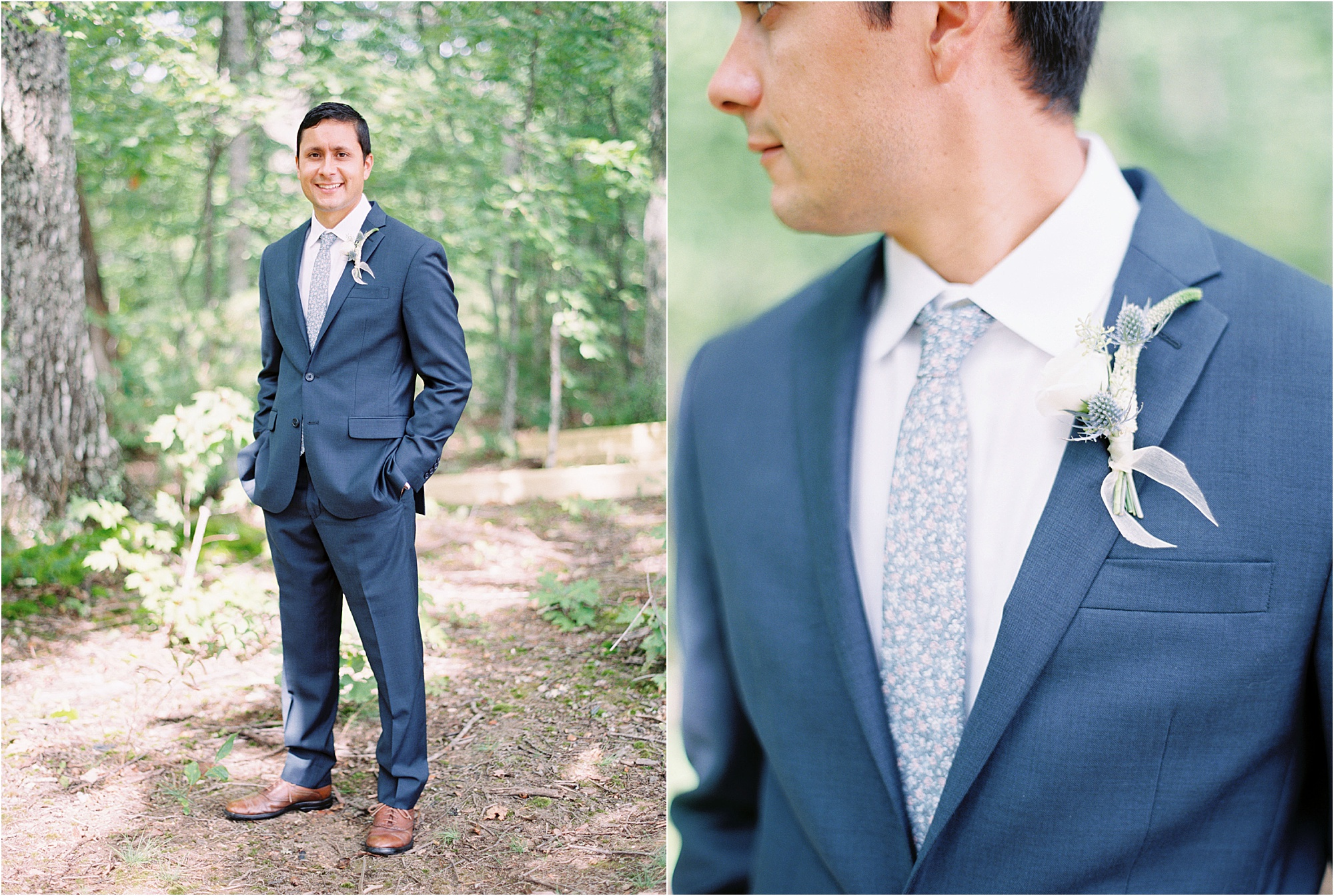 groom in light blue suit at Ethereal Wedding