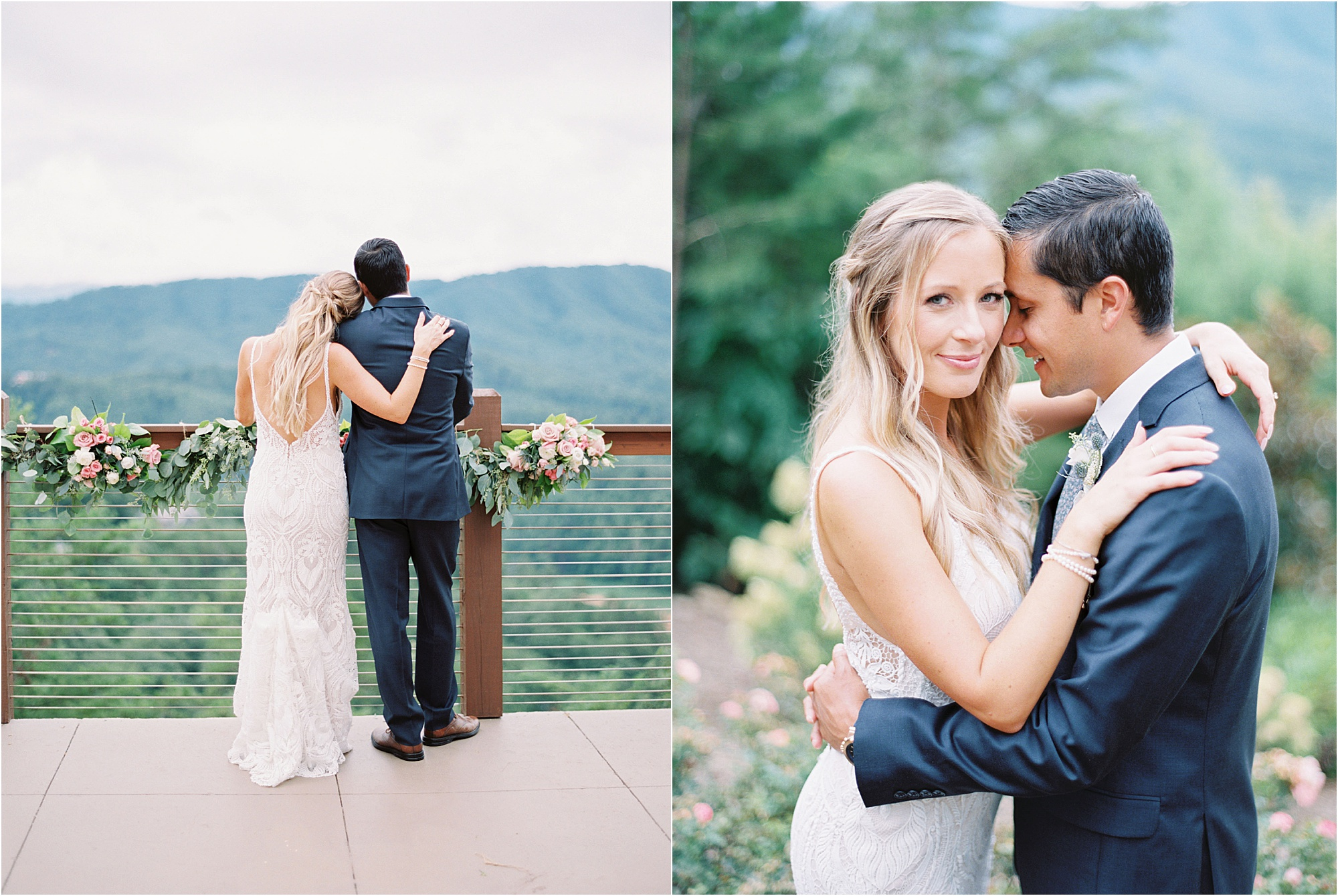 bride and groom hugging and kissing at The Magnolia Venue in Tennessee