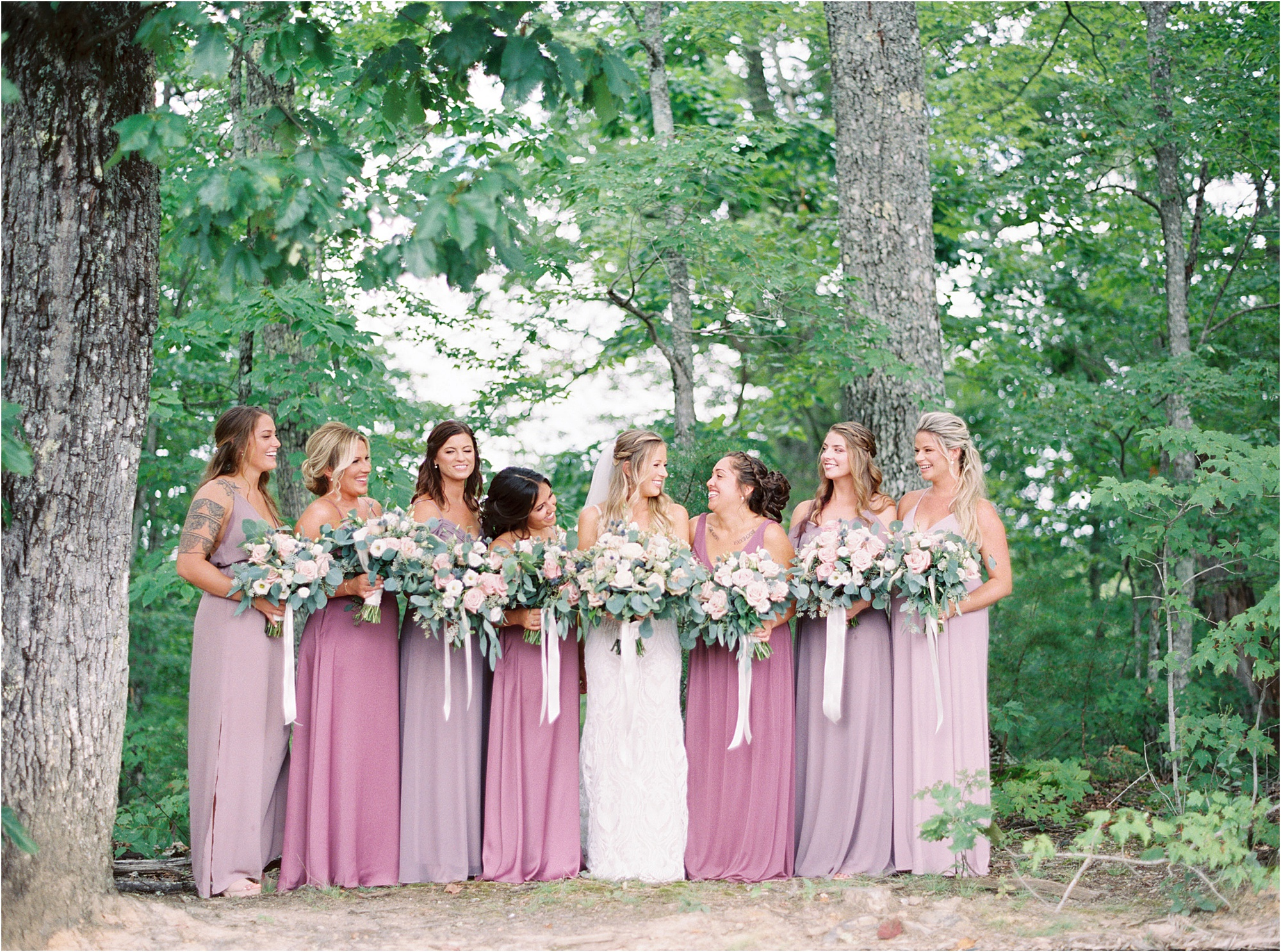 bridesmaids in Ethereal Wedding Colors in lilac and purple