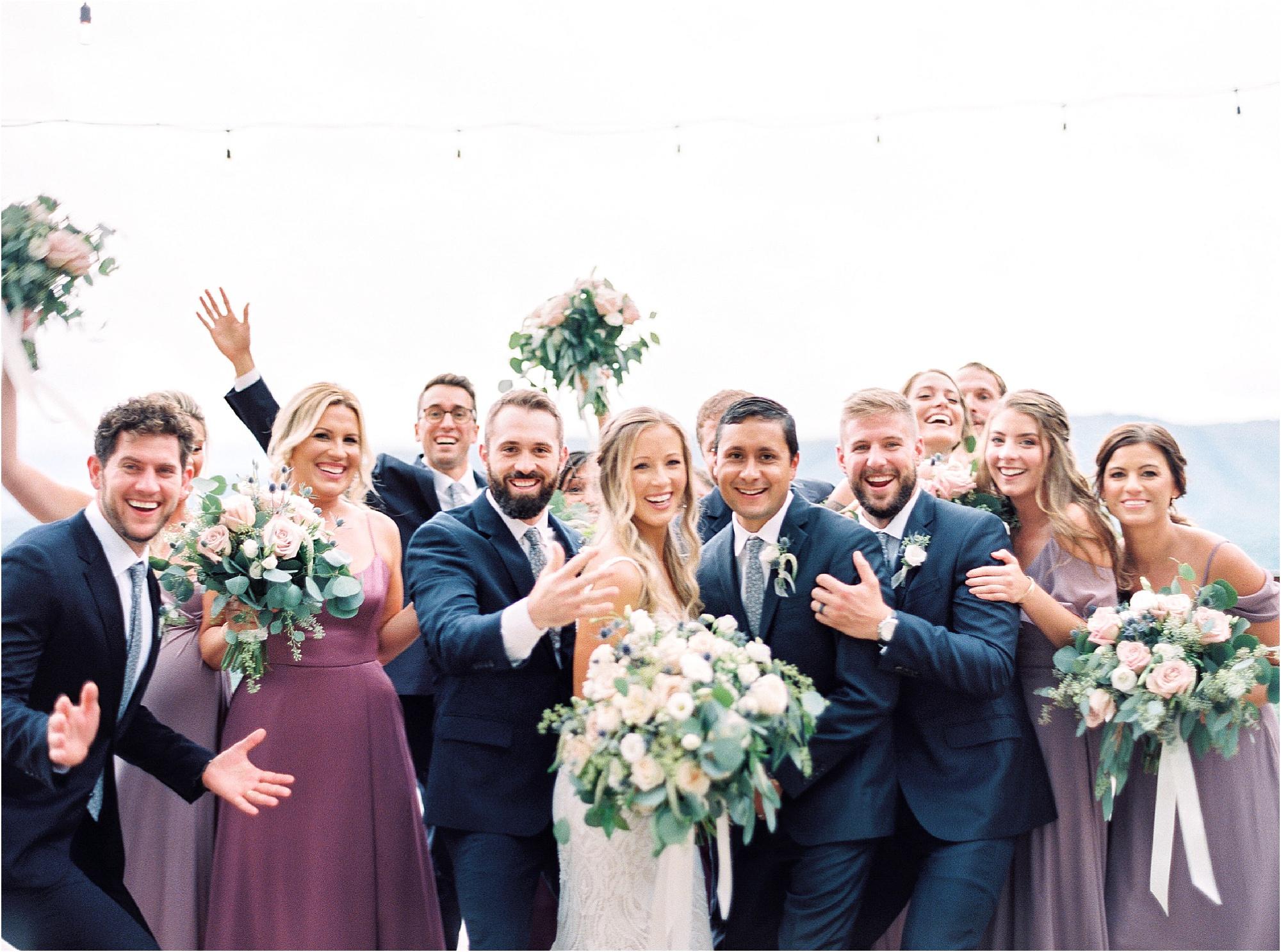 bride, groom, and groomsmen group photos