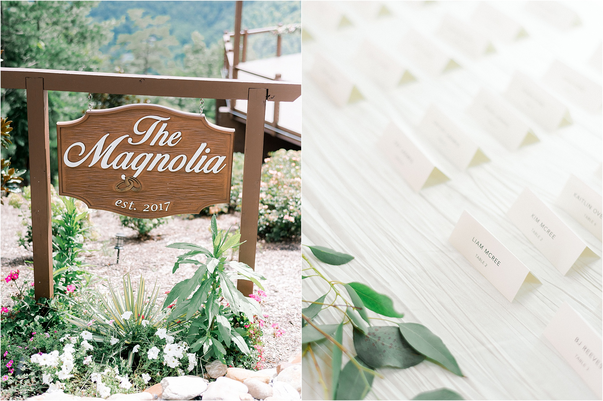 The Magnolia Venue sign and escort cards