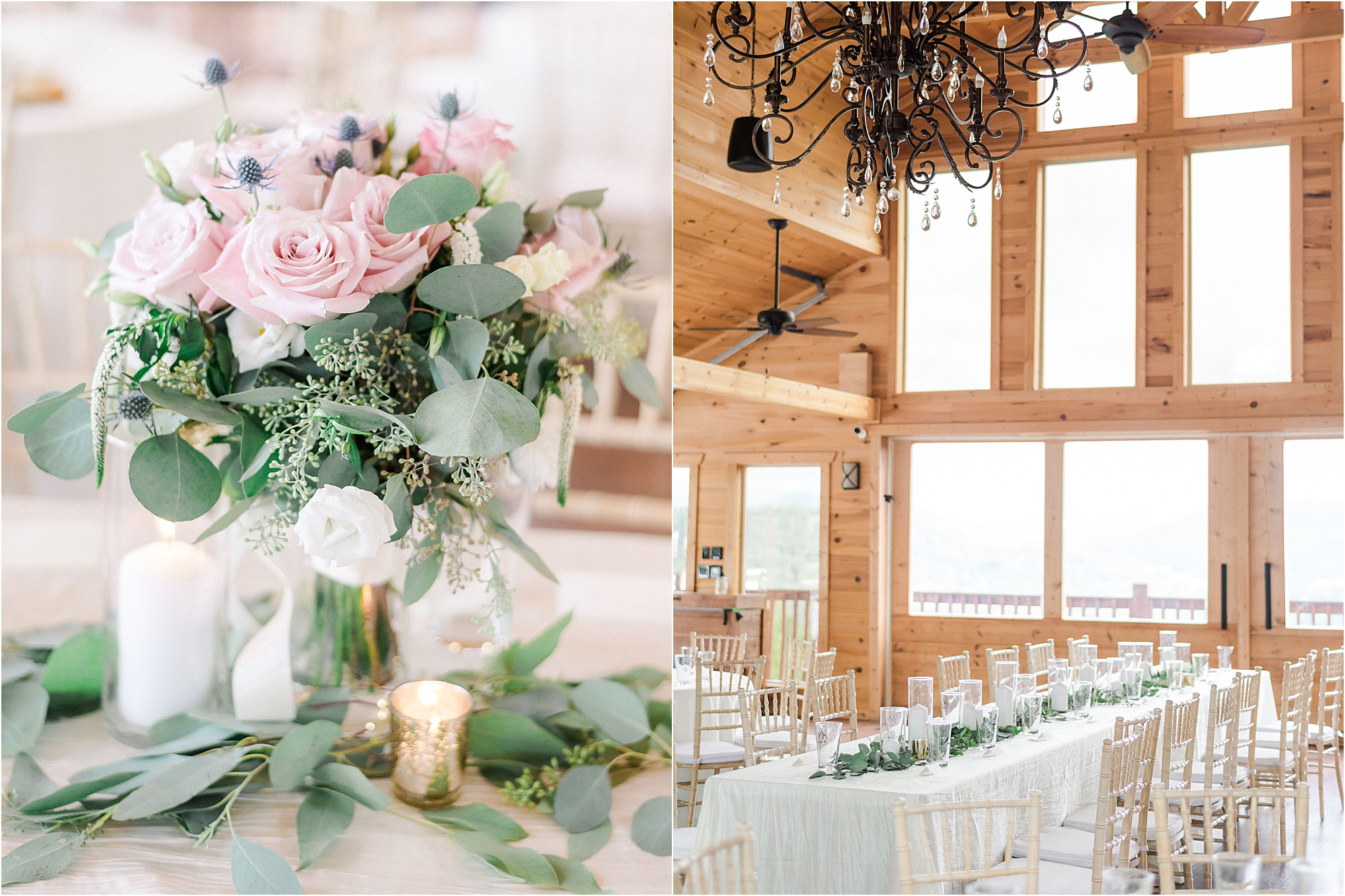light pink reception decorations at mountain wedding venue