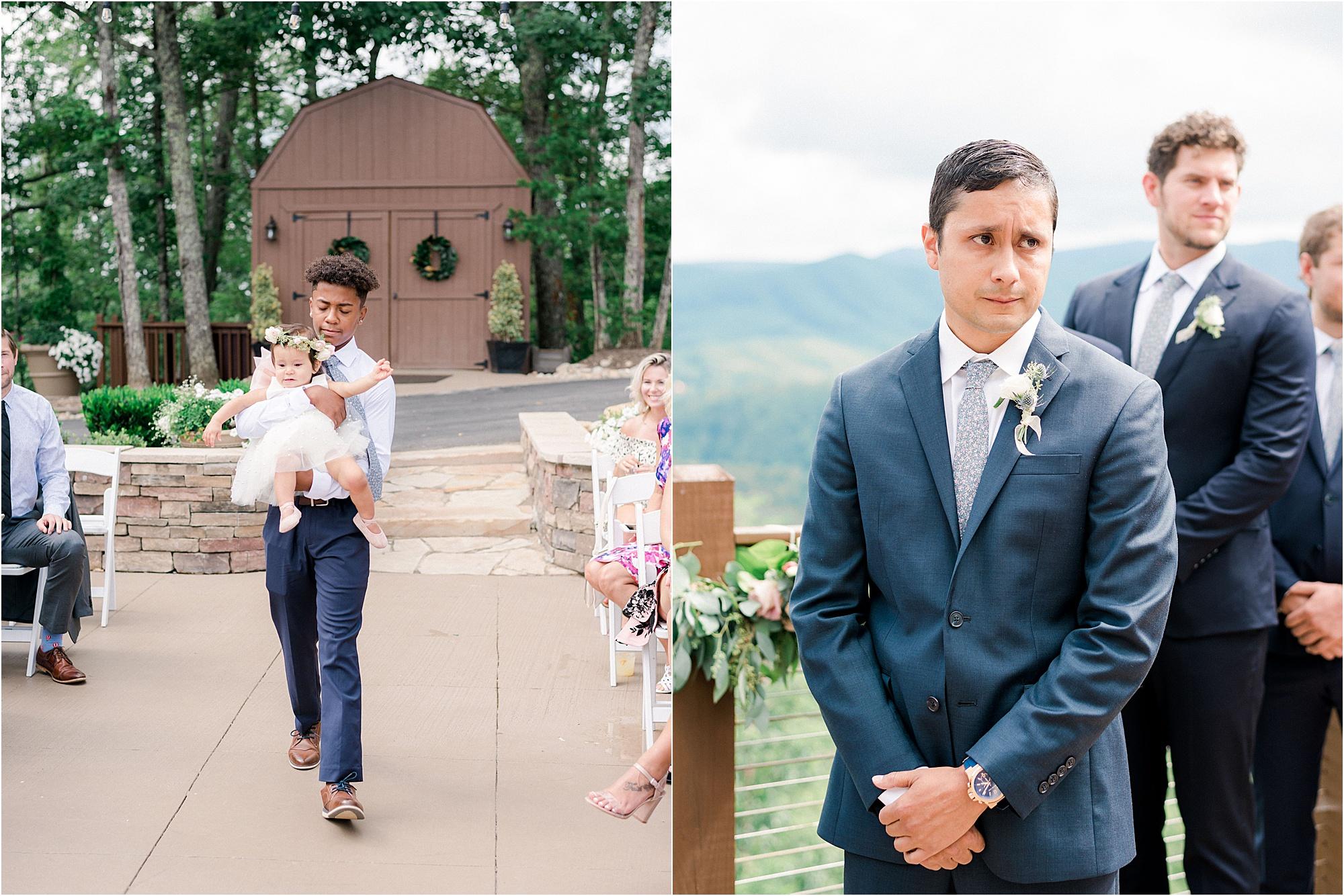 groom watching flower girl and bride walk down the aisle