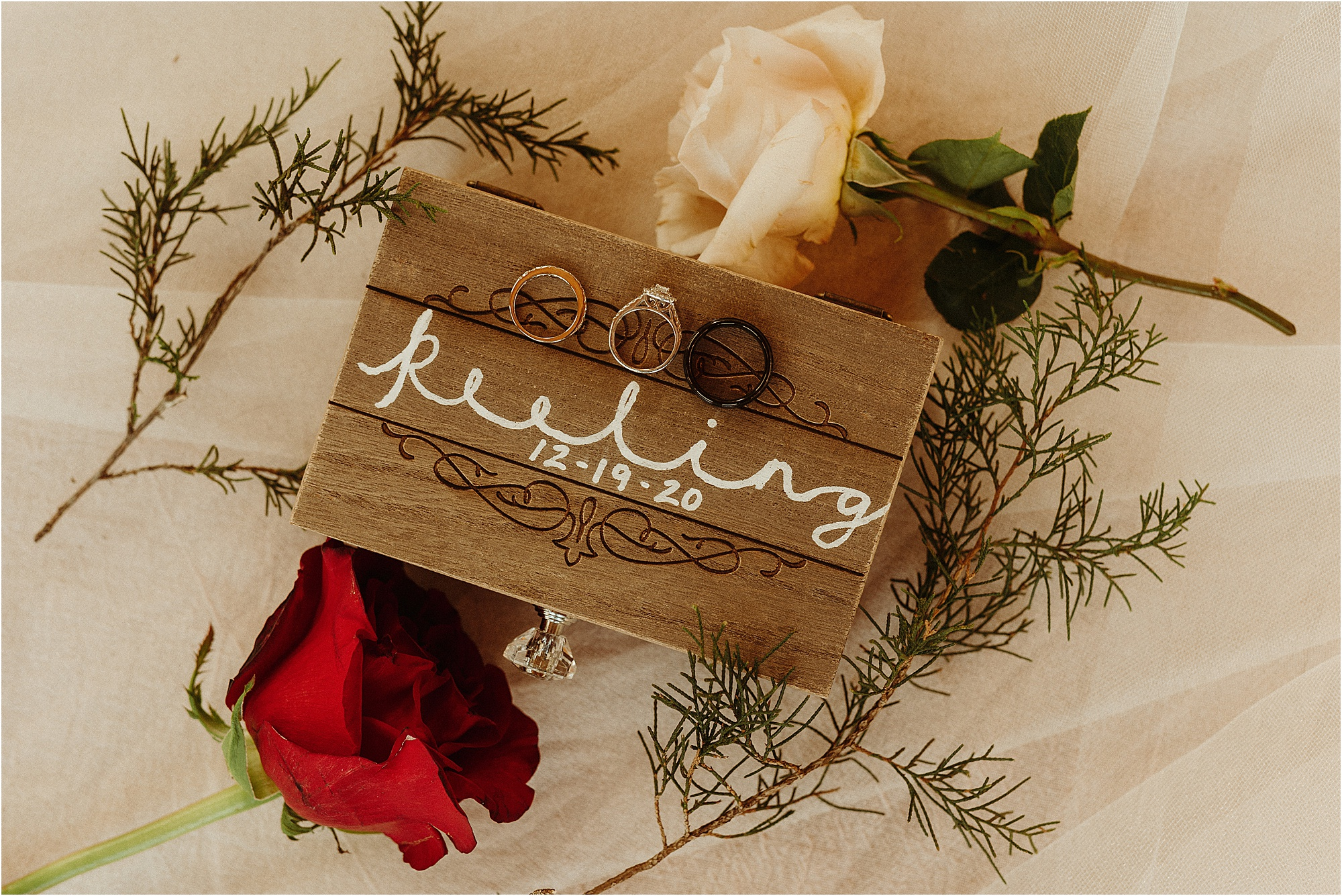 wedding rings on personalized ring box