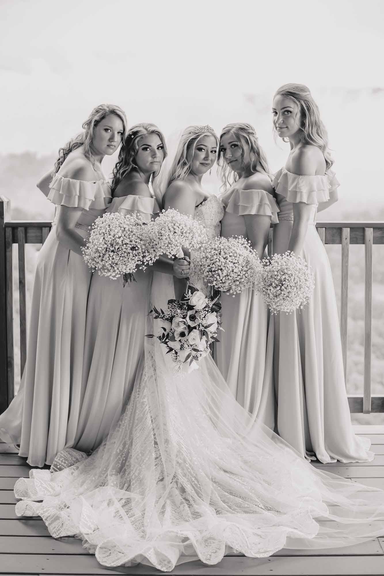 close bride and bridesmaid photo