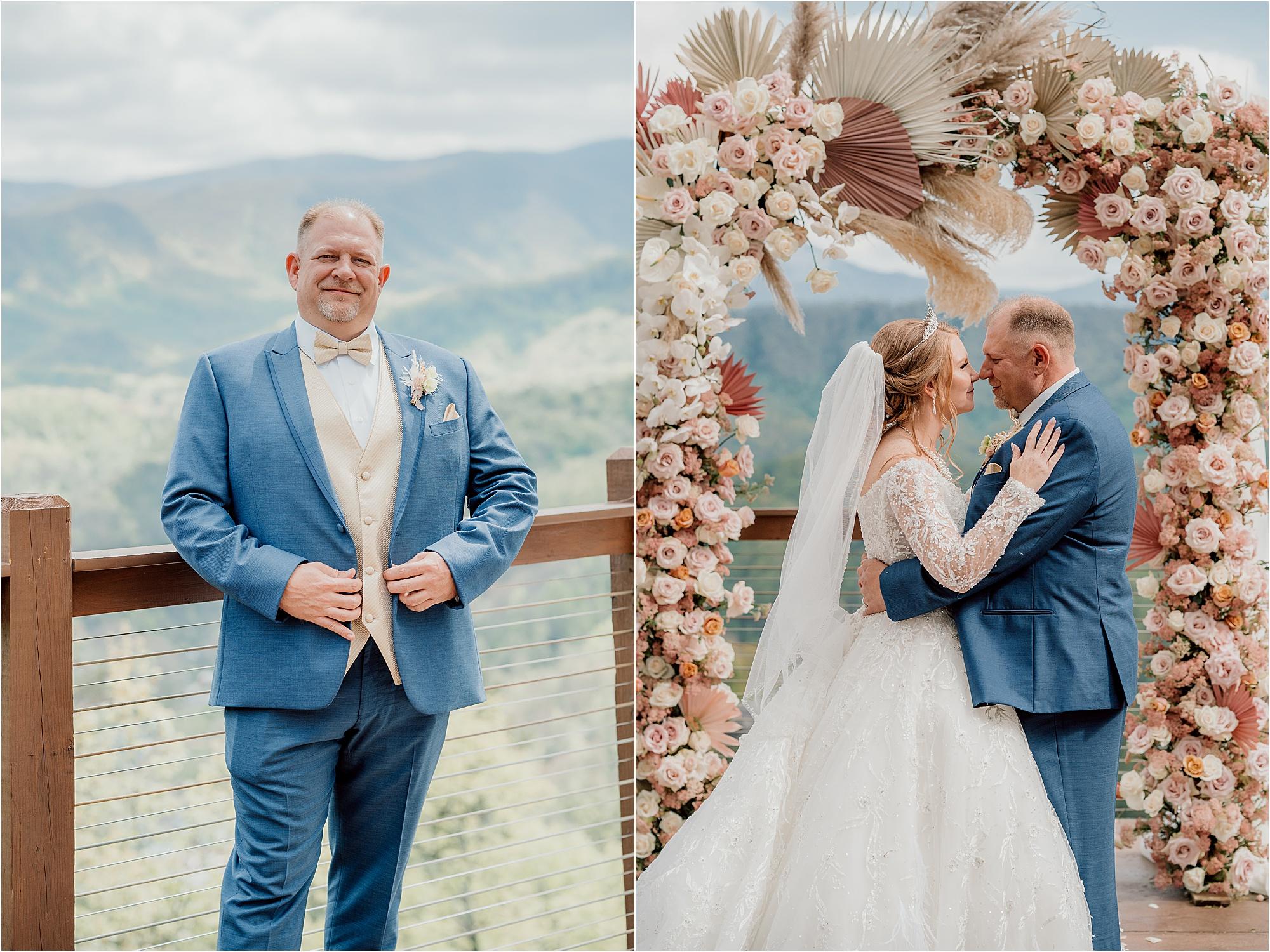 whimsical wedding photos under floral arbor