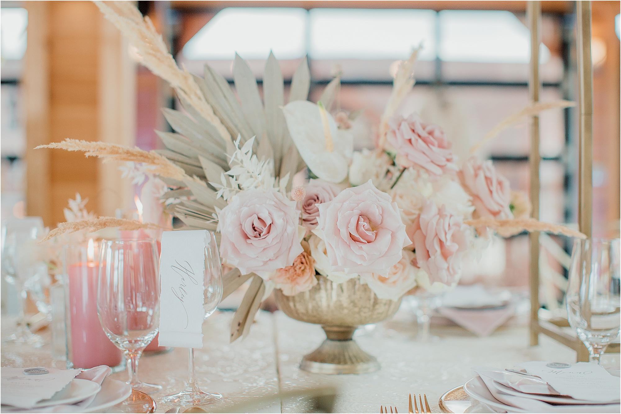 white and blush pink wedding reception centerpieces