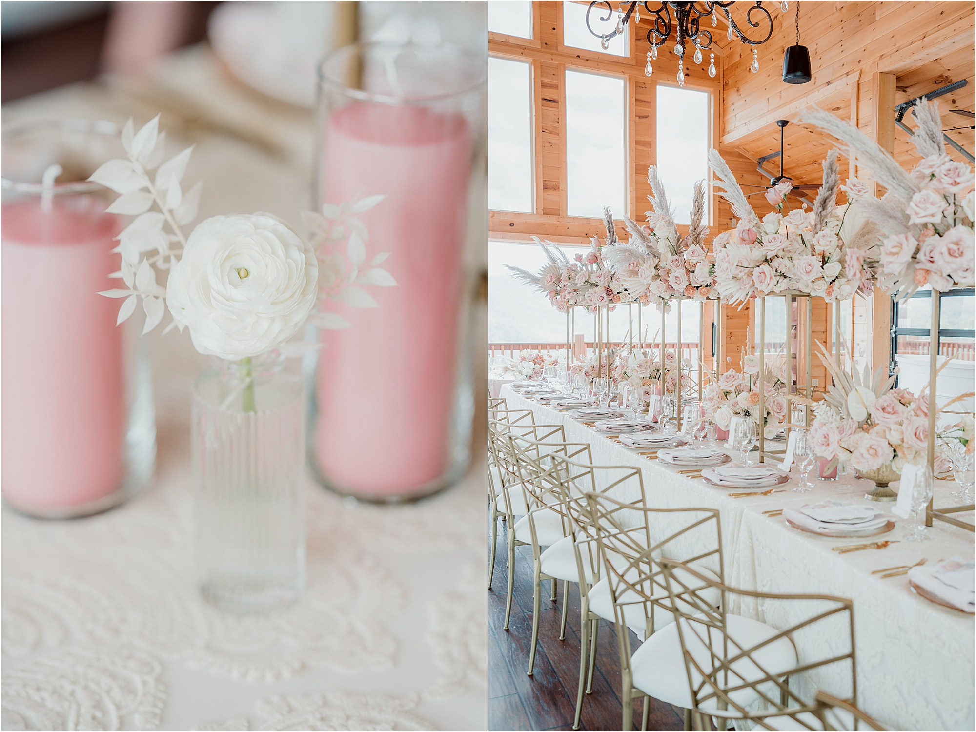 white and pink luxury wedding reception decorations