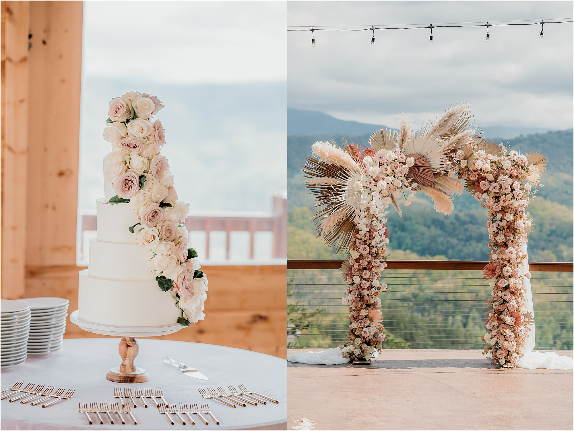 floral wedding cake and dried floral wedding arbor