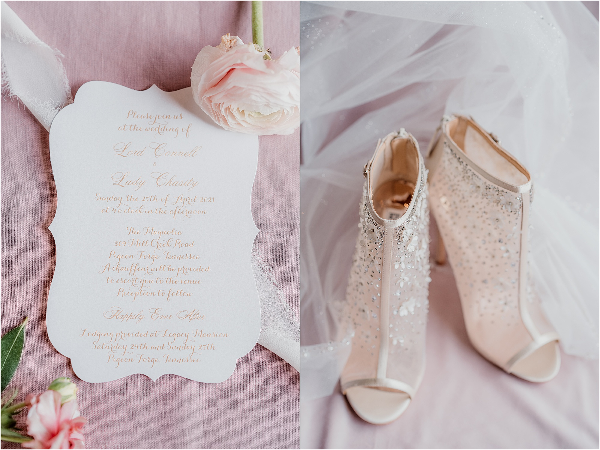 blush pink invitations with delicate pink wedding shoes